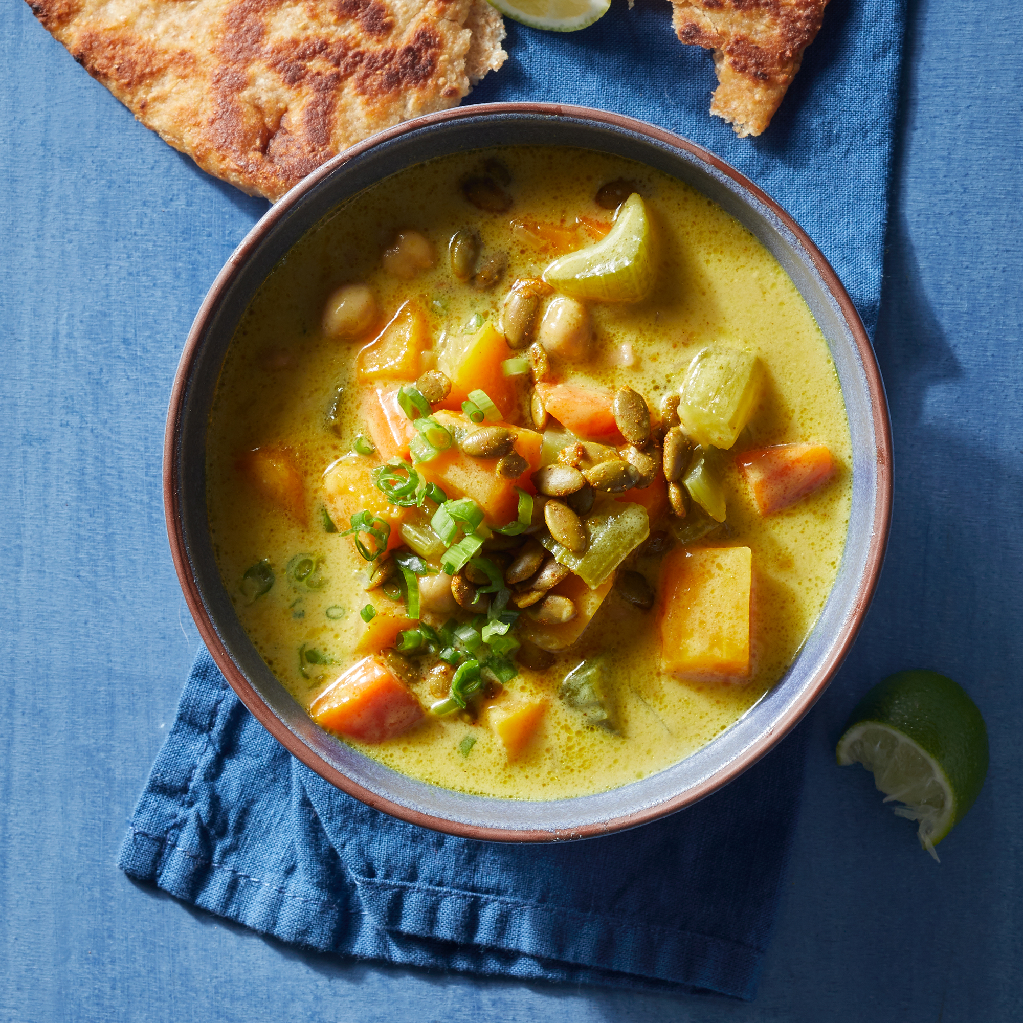Coconut Curry Squash Soup with Spiced Seeds