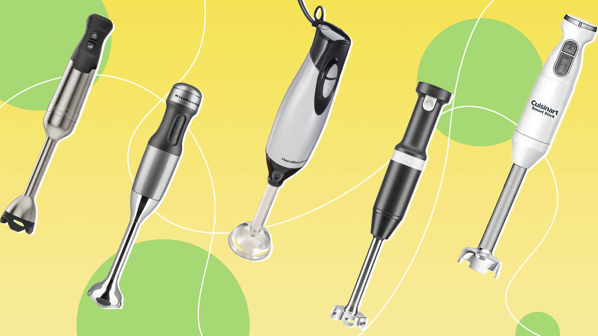 5 electric hand mixers on a designed background