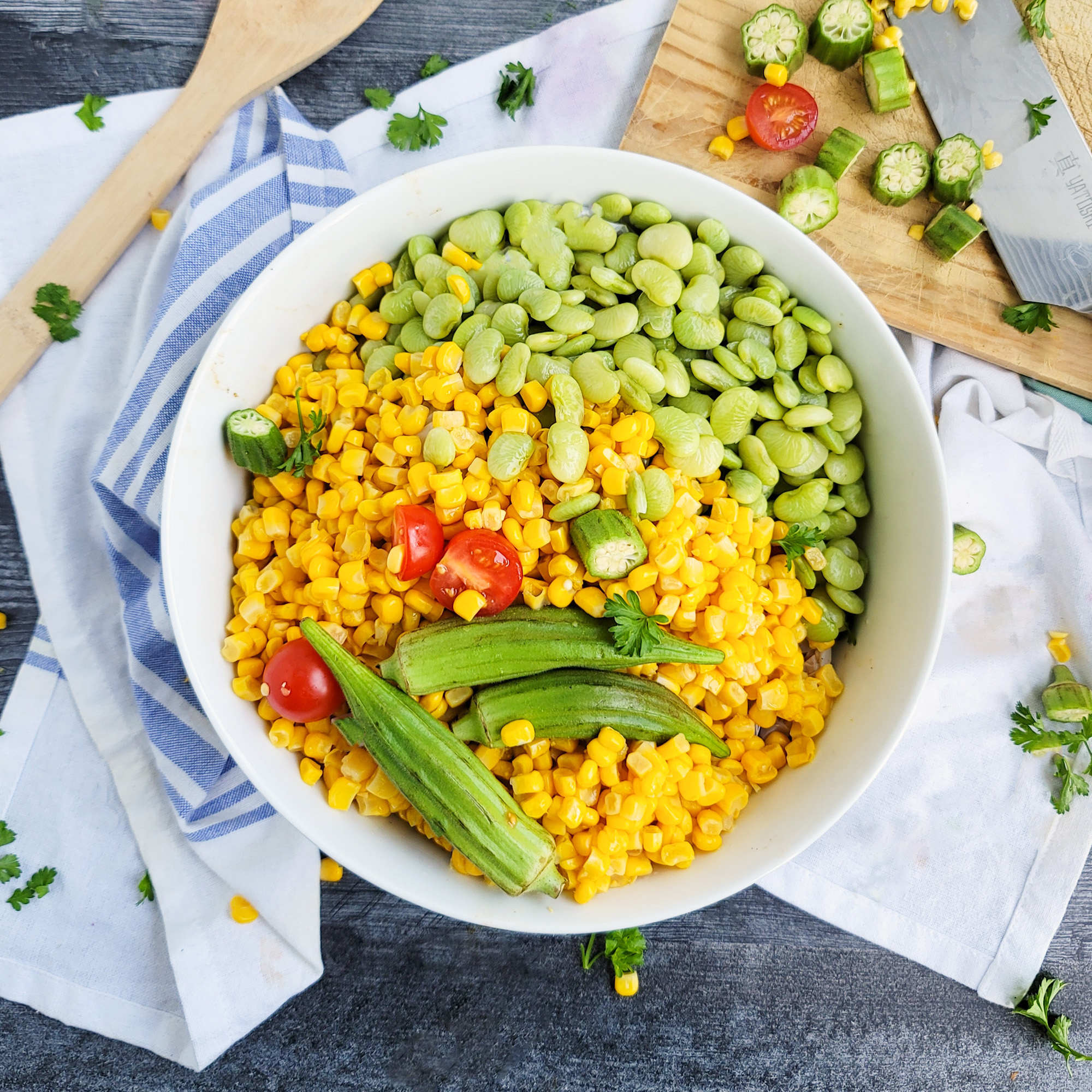 Making of Fresh Southern Succotash with Bacon