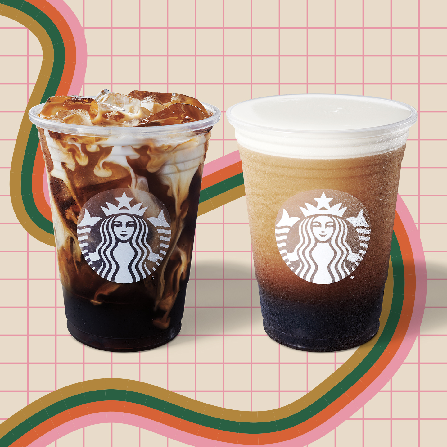 two iced coffees on designed background