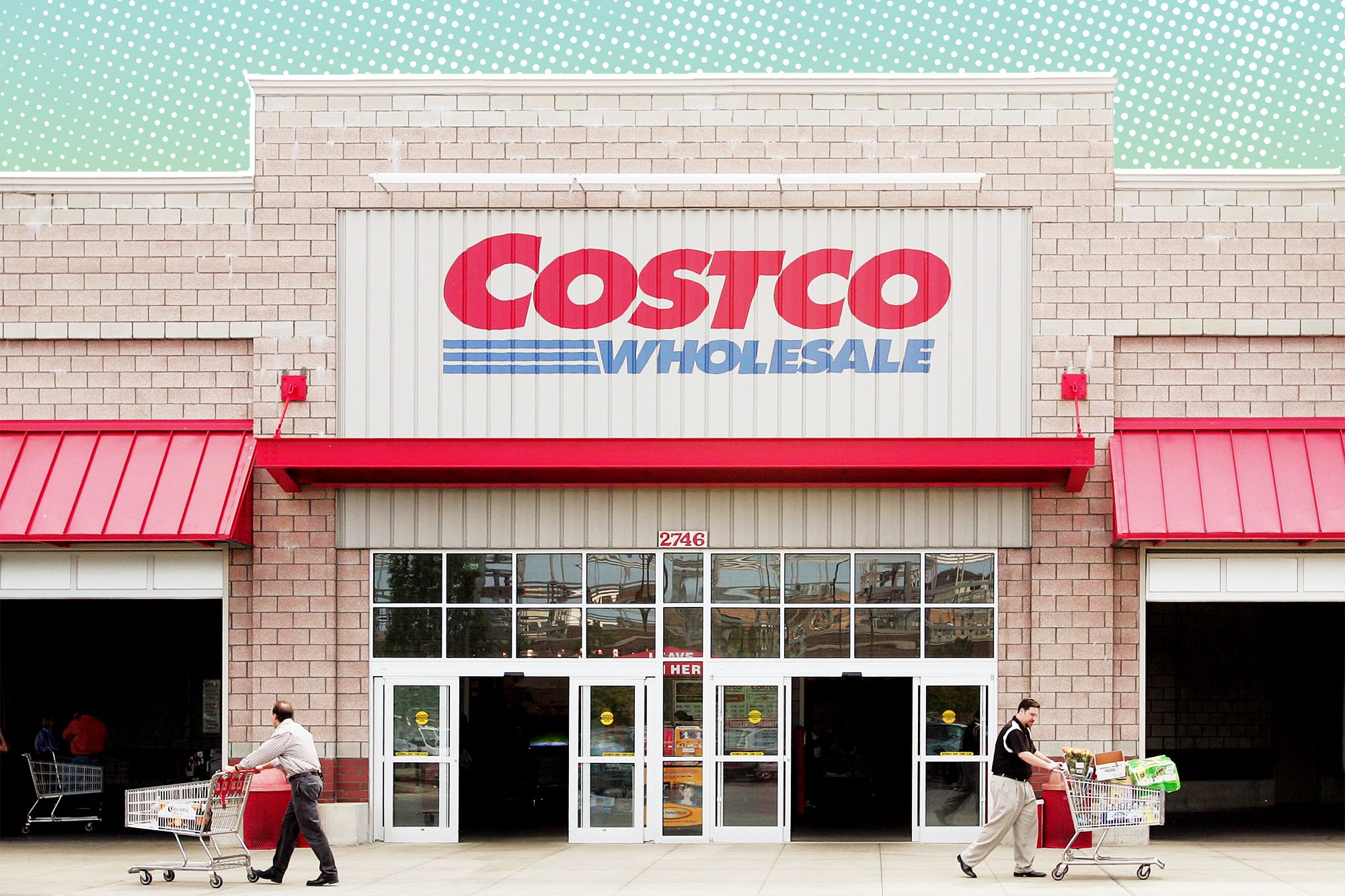 A Costco storefront with a designed treatment