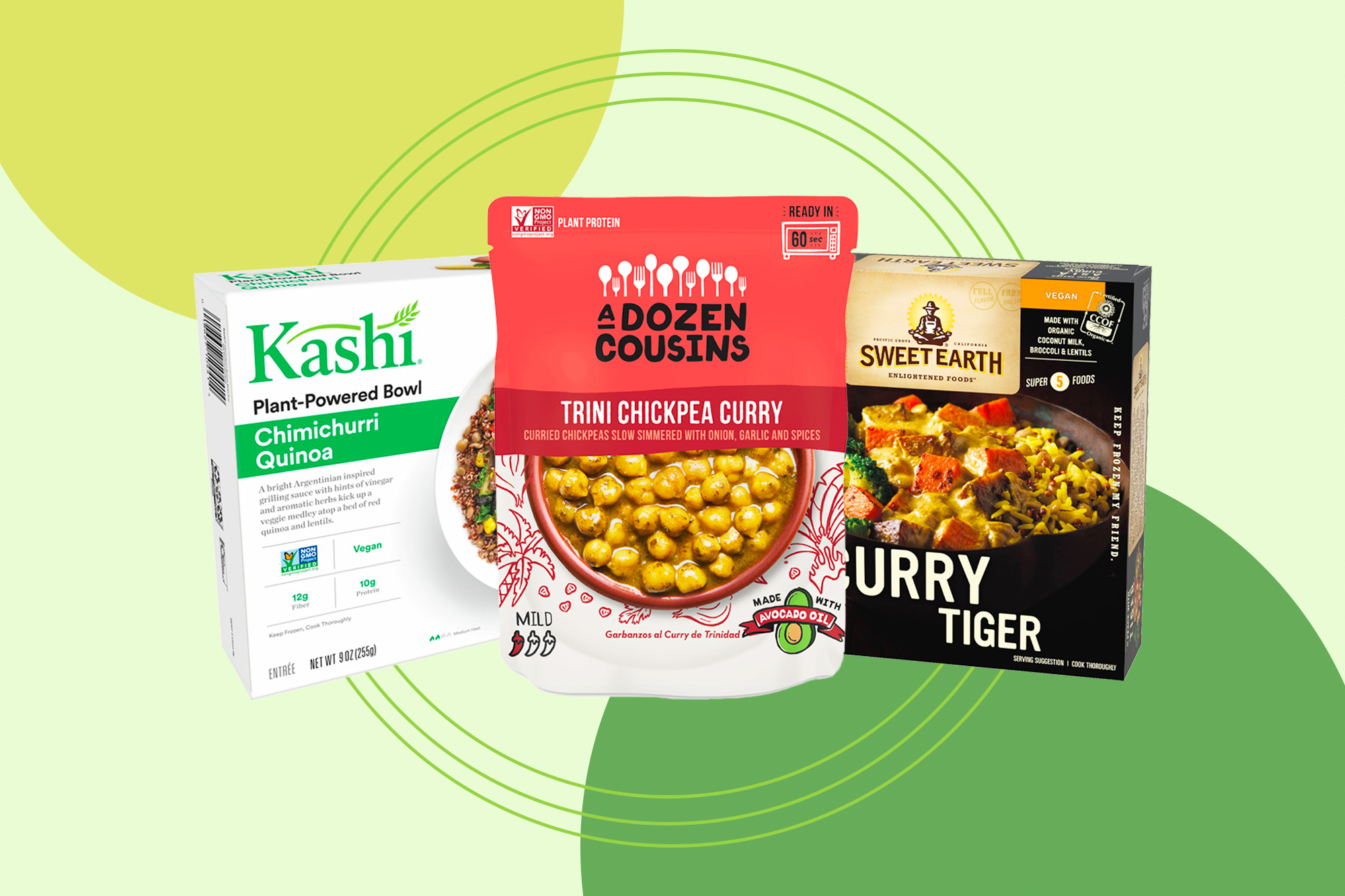 Trini Chickpea Curry, Kellogg's Kashi Plant-Based Protein Bowl, Vegan, Frozen Meal, Chimichurri Quinoa, and Sweet Earth Vegan Frozen Natural Foods Curry Tiger on a designed background