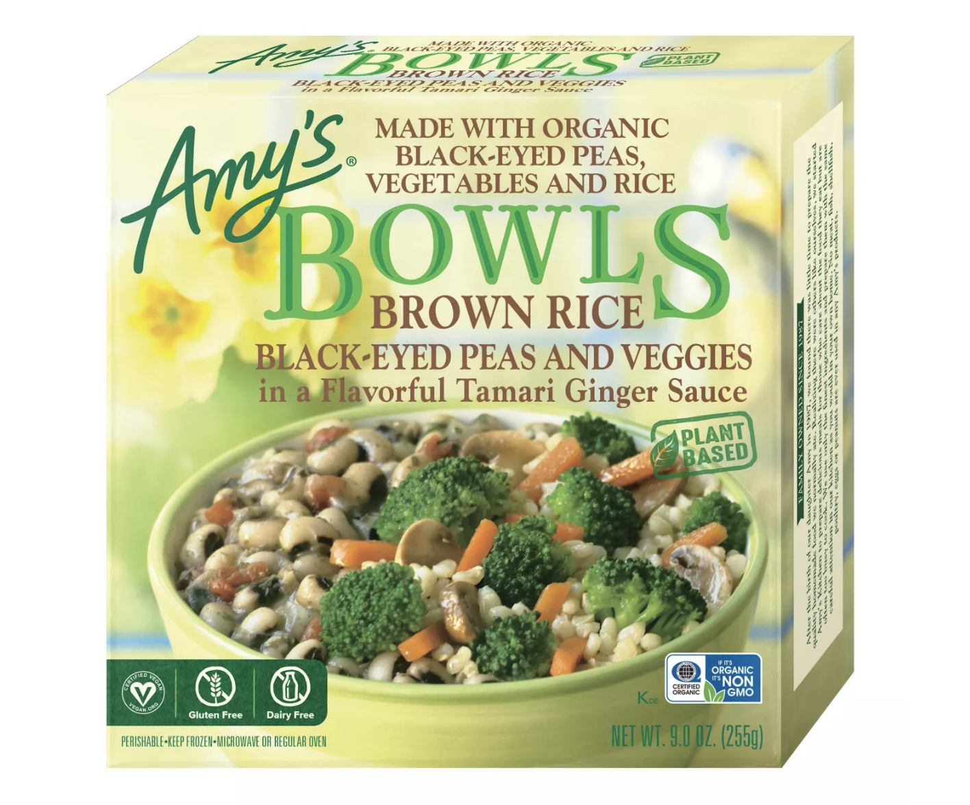 Amy's Gluten Free and Vegan Frozen Brown Rice Black-Eyed Peas and Veggies Bowl