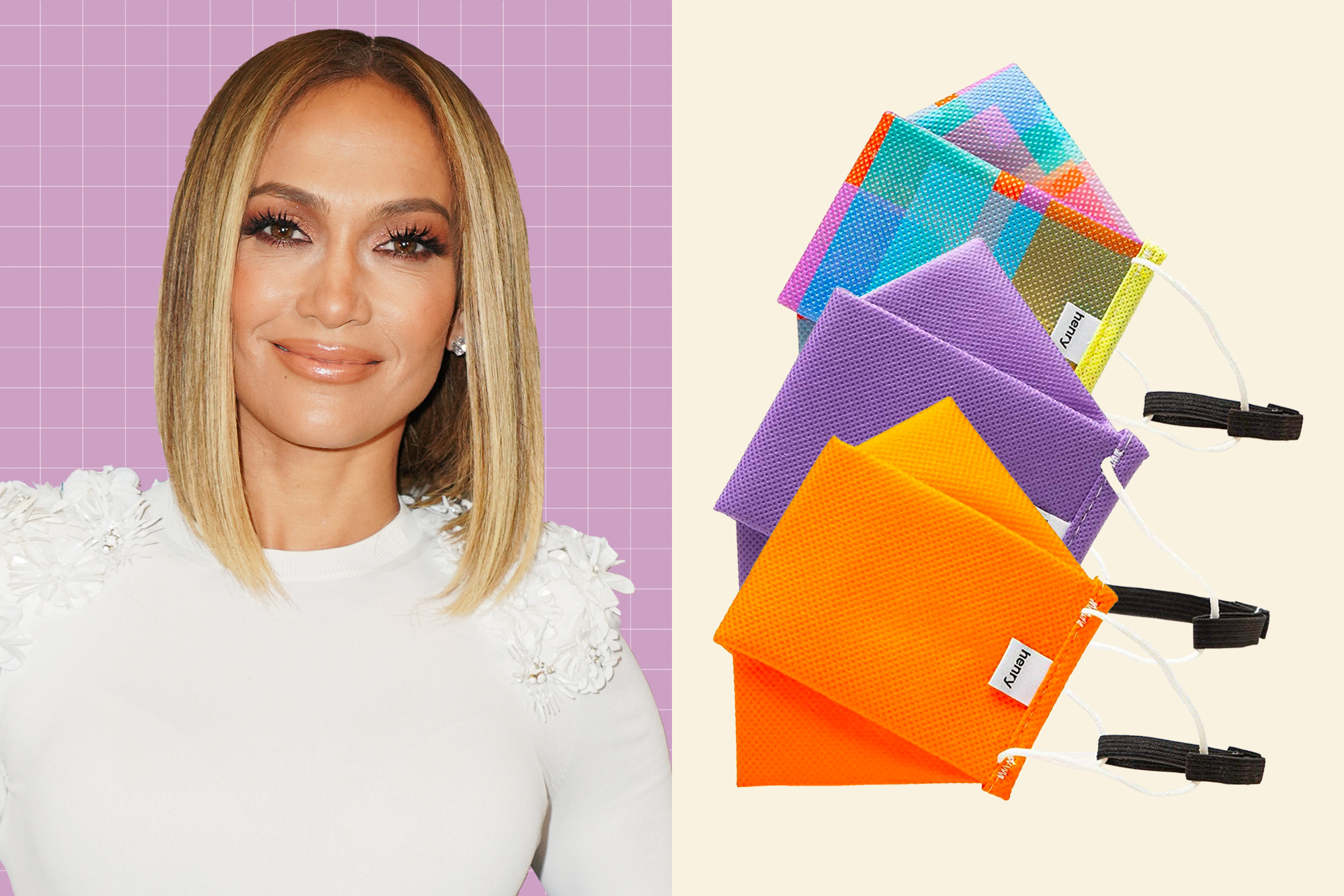 A portrait of Jennifer Lopez next to Henry Mask Reusable 3-Layer PPE Stylish Facemask Adjustable With Filter Protection Ultra Breathable