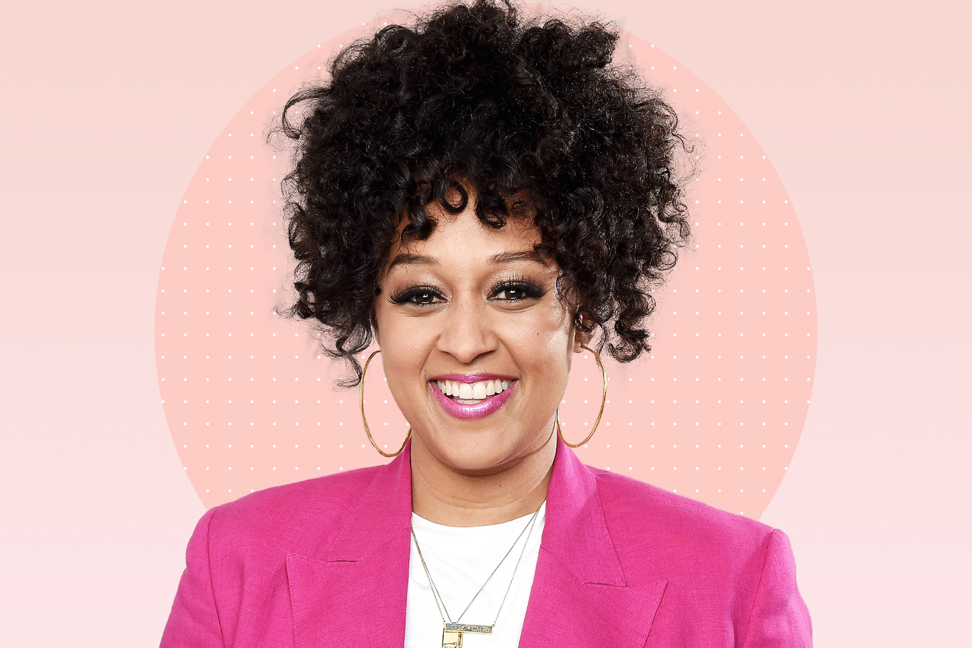 a portrait of Tia Mowry on a designed background