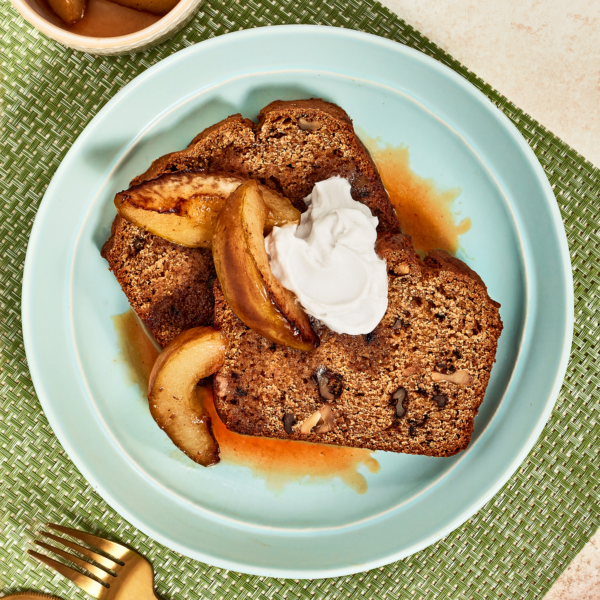 Walnut Spice Cake with Butterscotch Pears