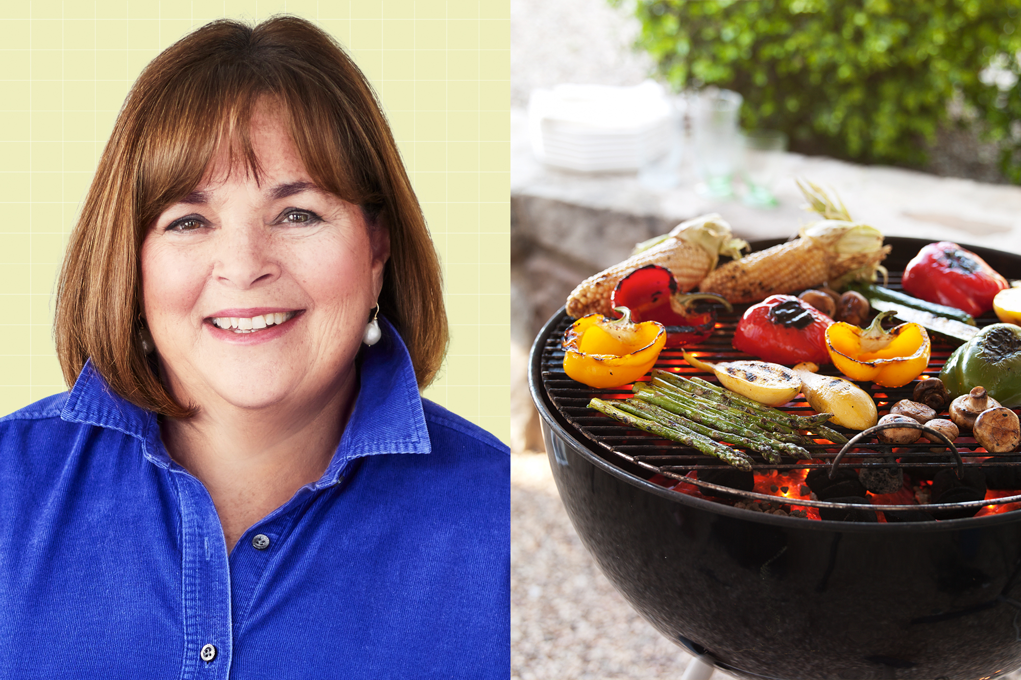Ina Garten on a designed background next to a picture of a grill with vegetables on it