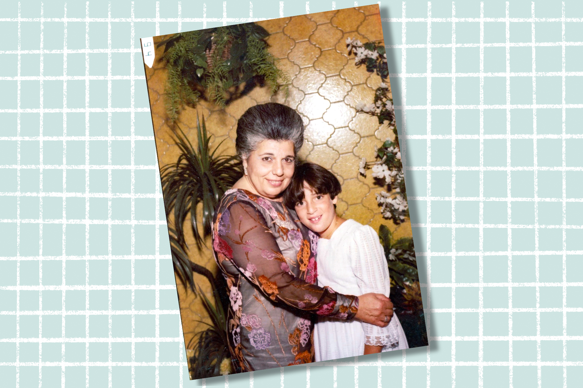 A portrait of an older woman and young child on a designed background