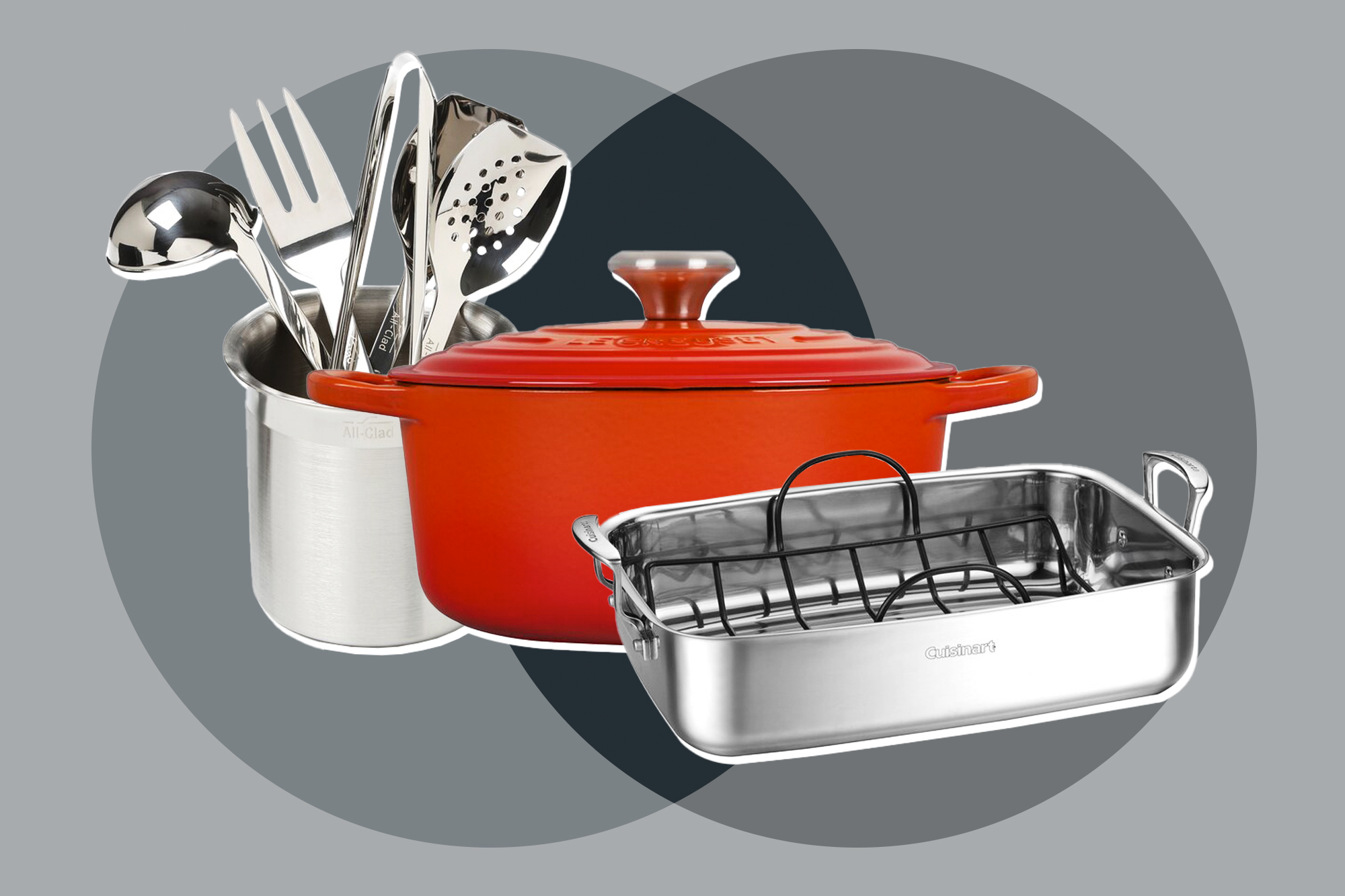 a dutch oven, a roasting pan, and a set of cooking utensils on a designed background