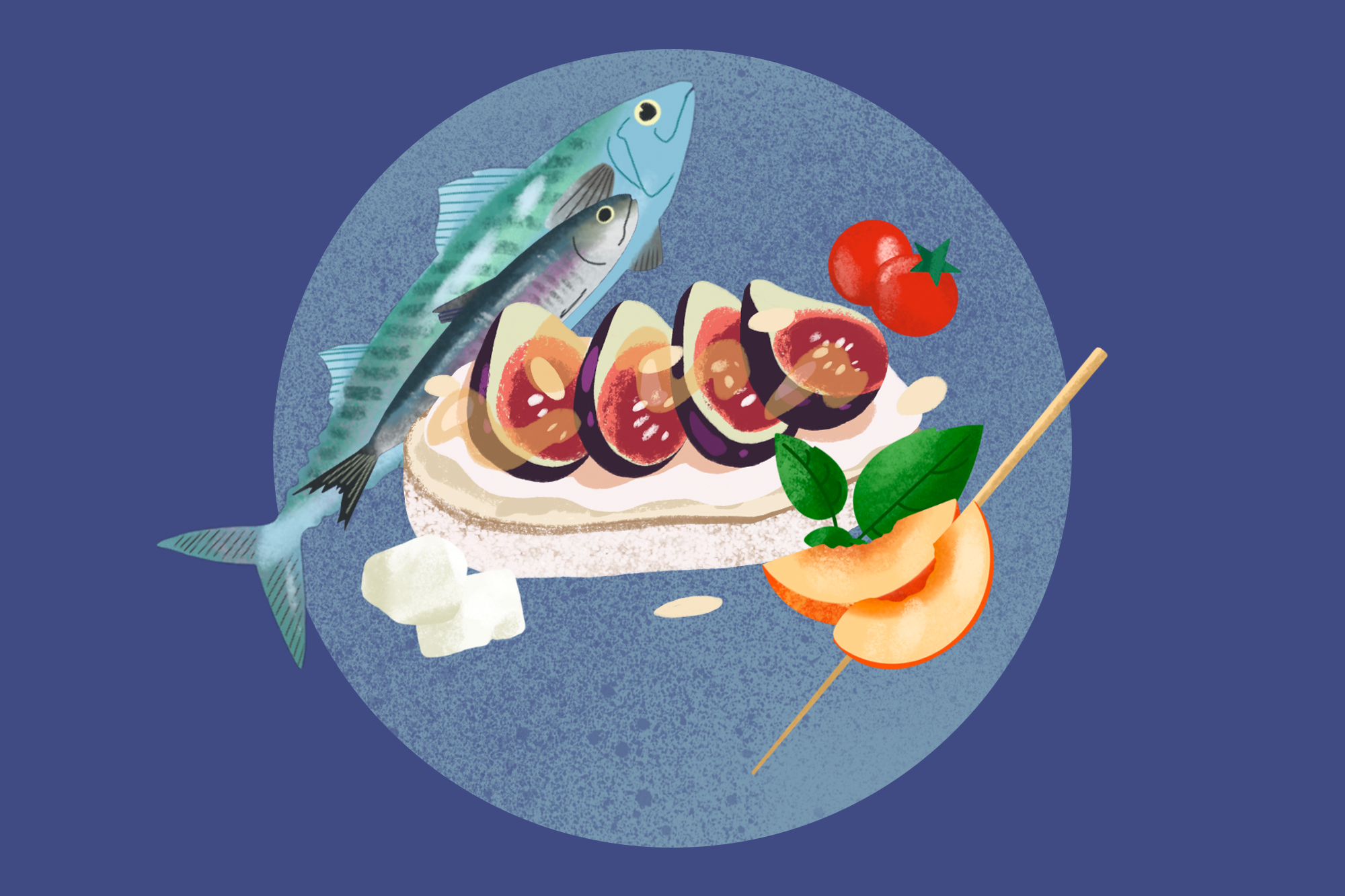 An illustration of food items included in the Mediterranean diet on a designed background