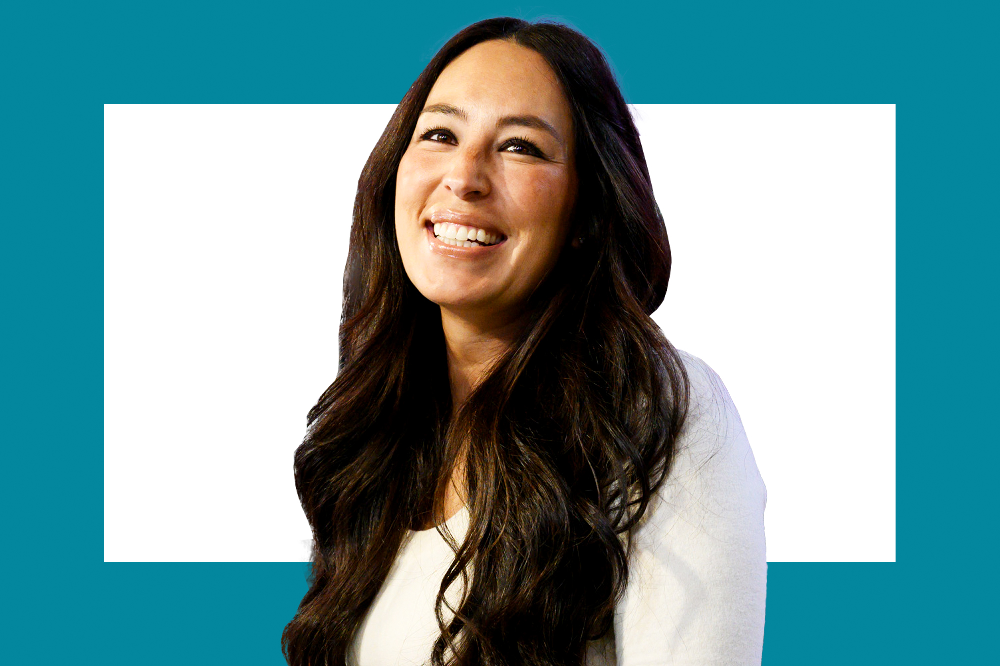 A portrait of Joanna Gaines on a designed background