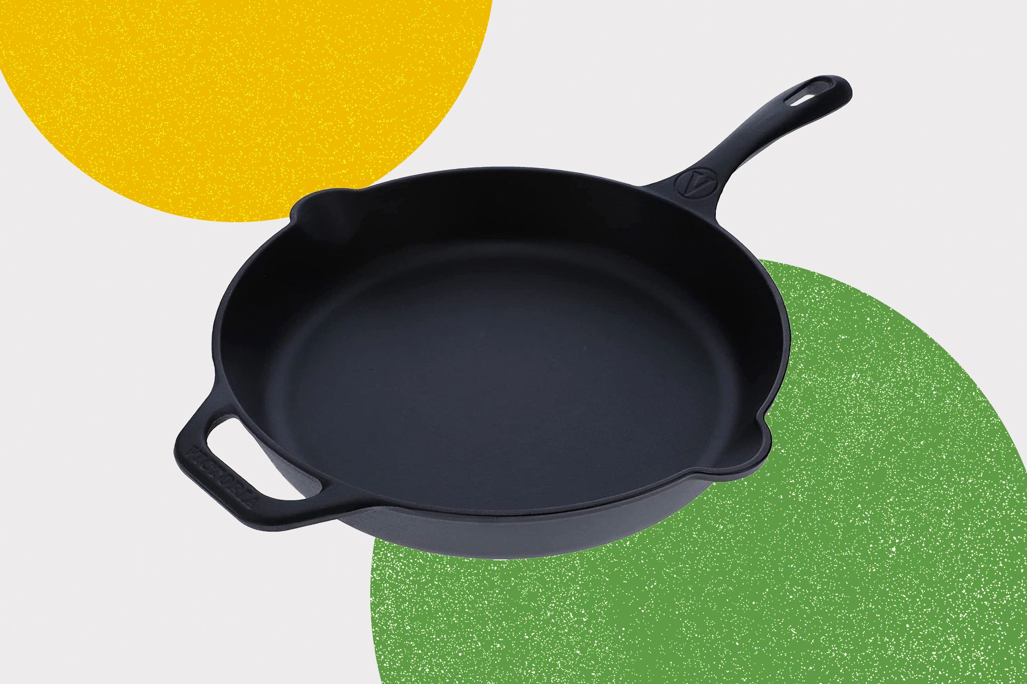Victoria Cast Iron Skillet Large Frying Pan with Helper Handle Seasoned with 100% Kosher Certified Non-GMO Flaxseed Oil, 12 Inch, Black