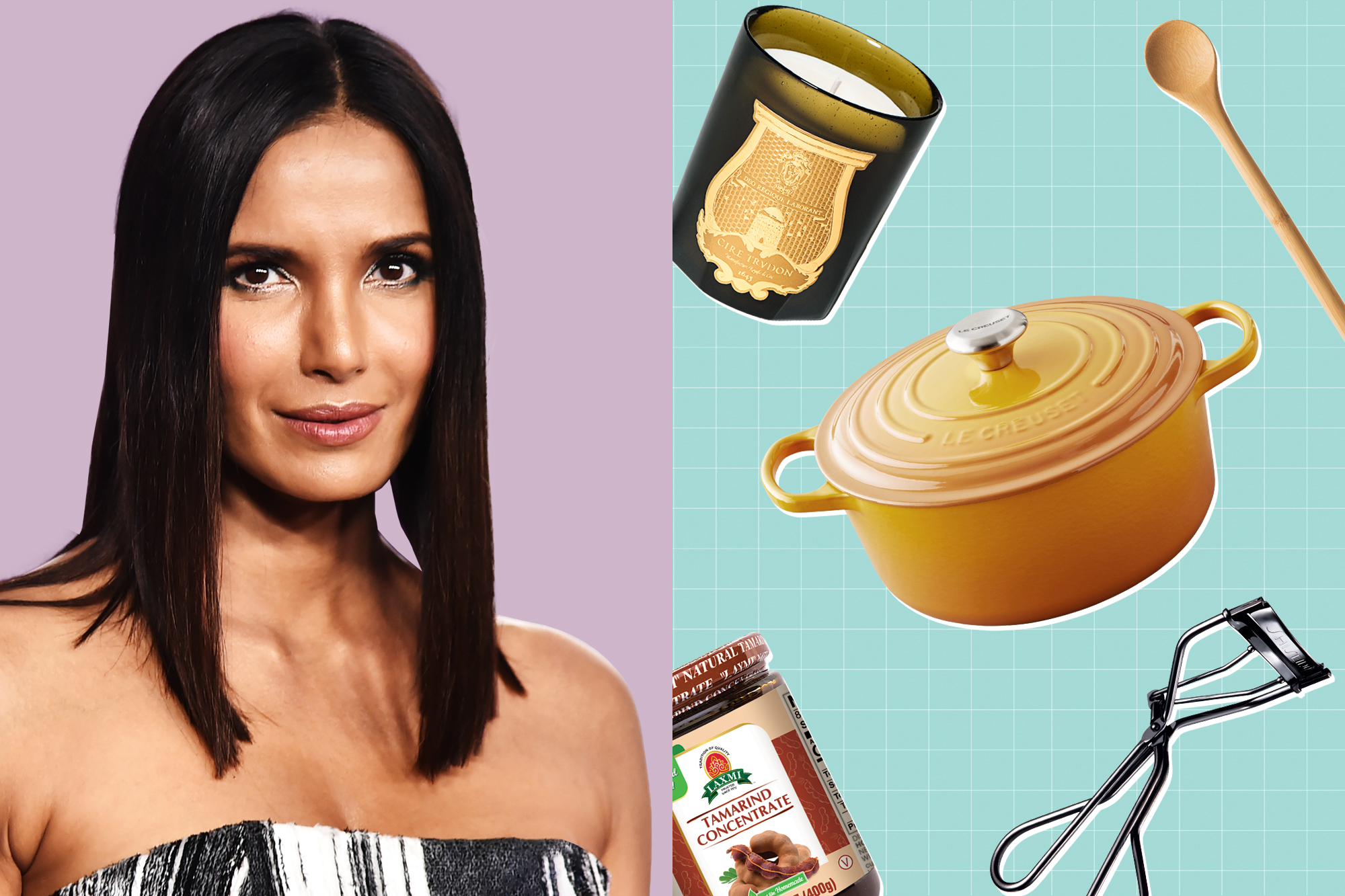 A portrait of Padma Lakshmi with a designed treatment next to a selection of products floating on a designed background