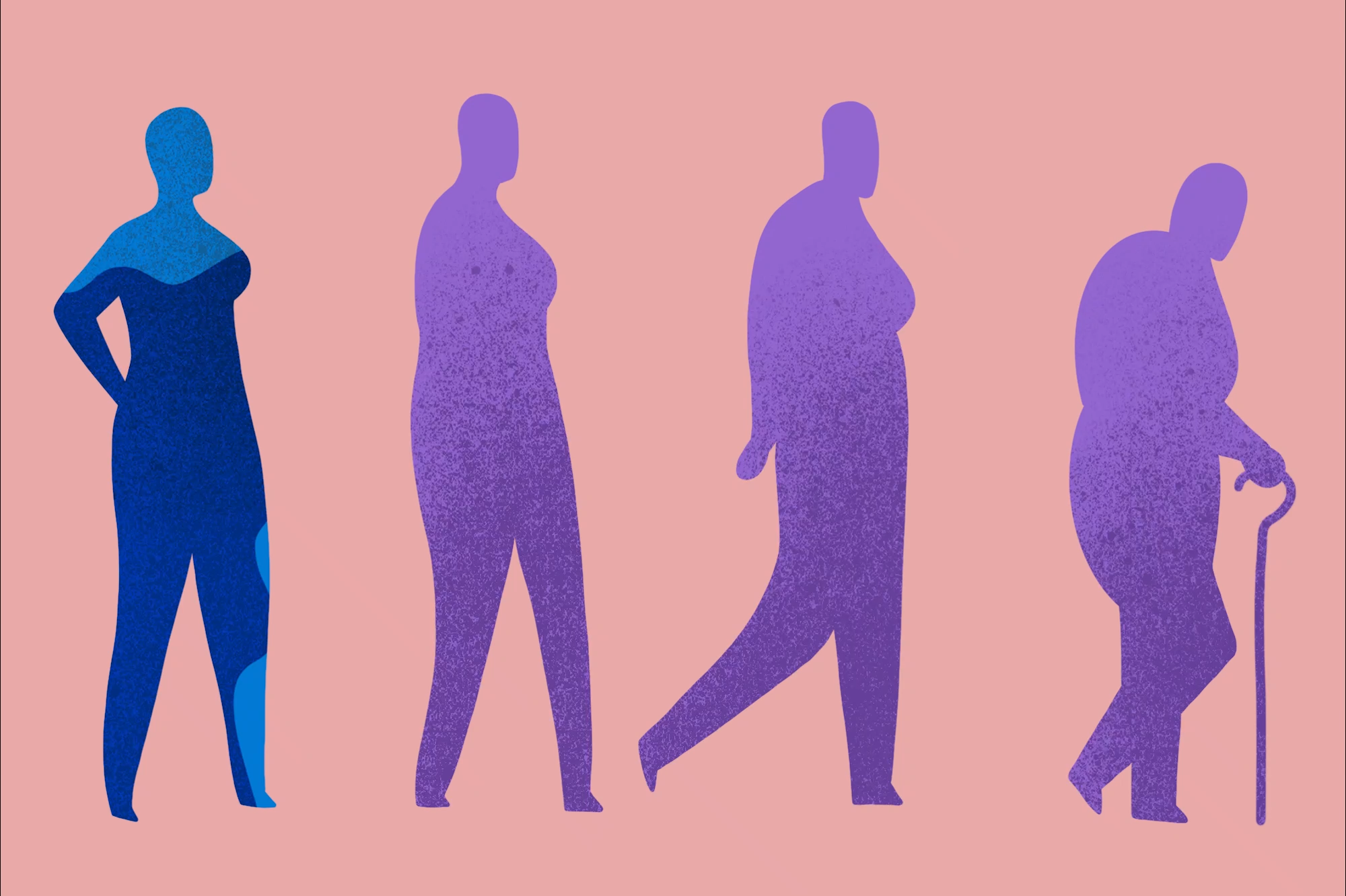 The silhouette of four people walking in a line in order of age