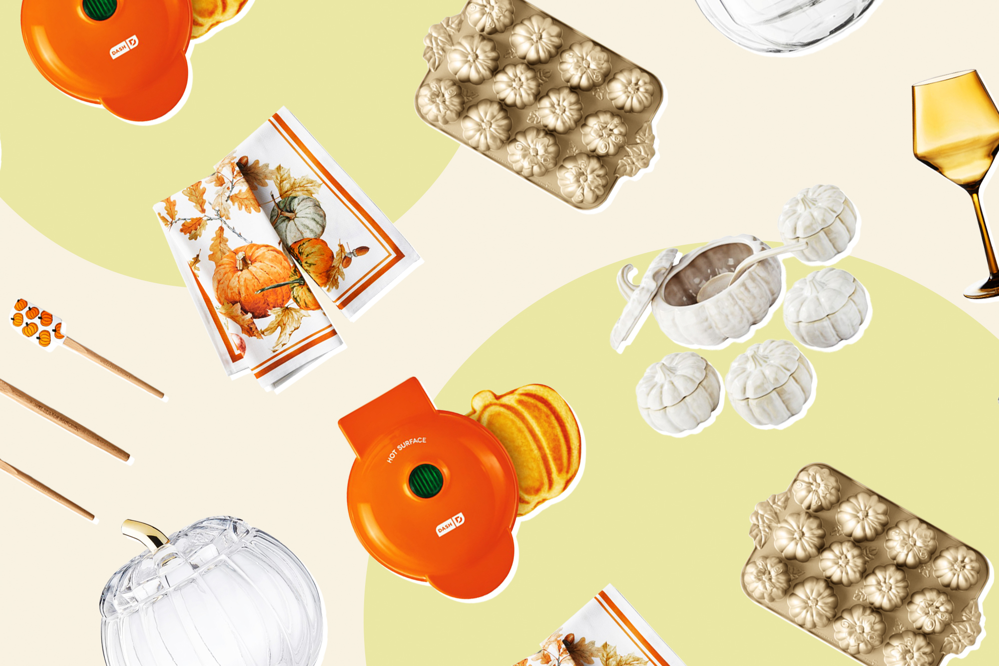 Williams Sonoma fall products on a designed background