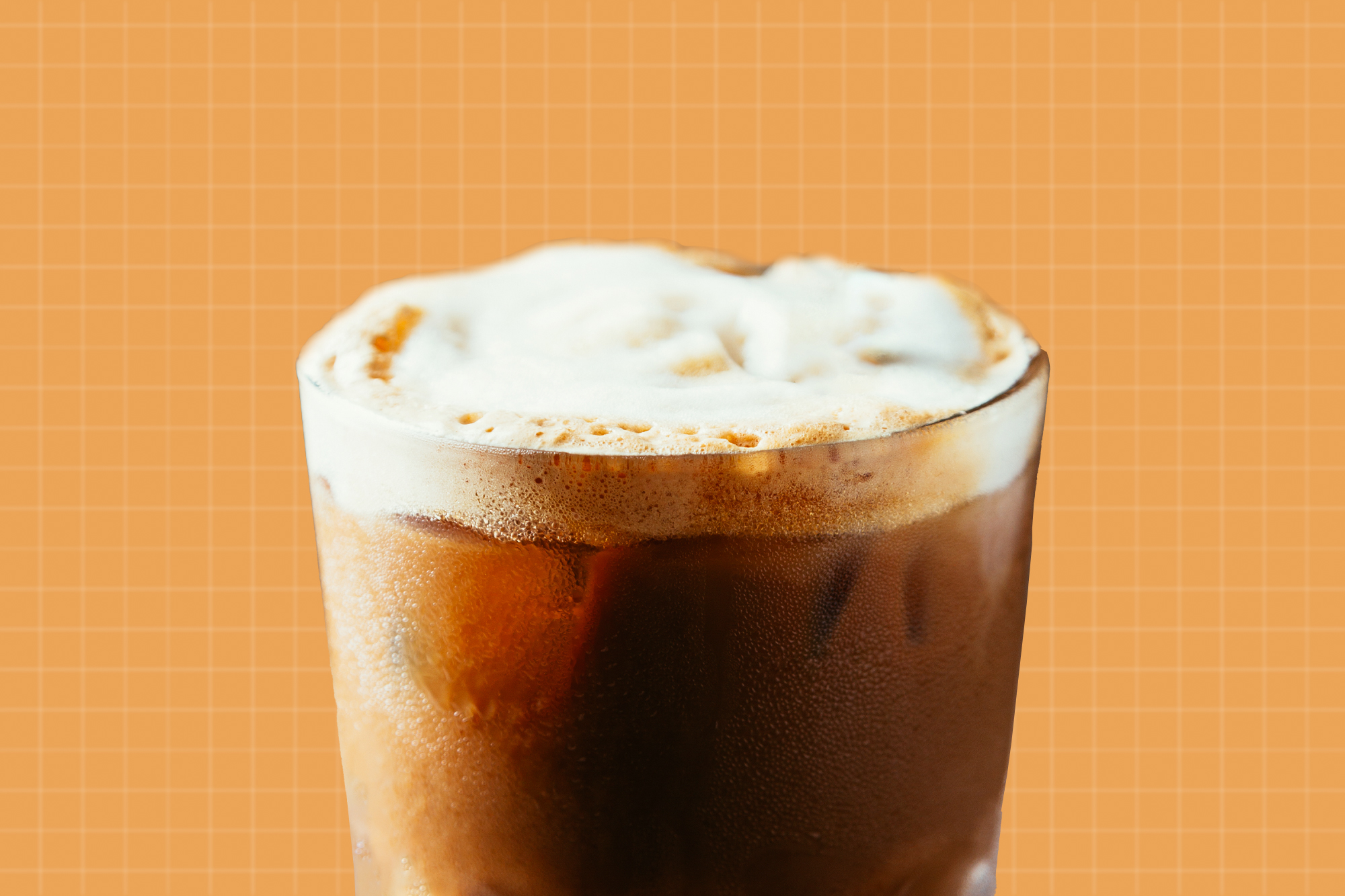 Iced coffee with cold foam onn top