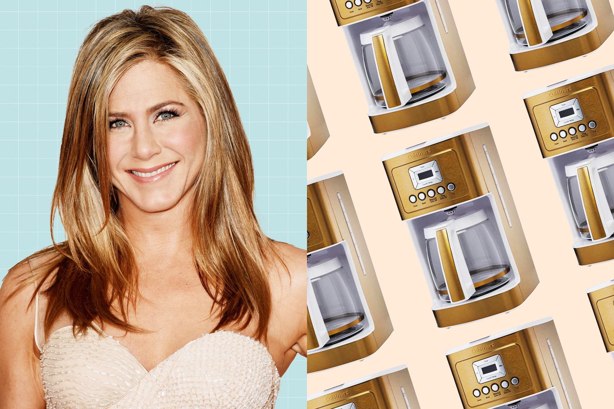 A portrait of Jennifer Aniston next to a slanted grid of Cuisinart DCC-3200 Programmable Coffeemaker with Glass Carafe and Stainless Steel Handle, 14 Cup, White/Gold
