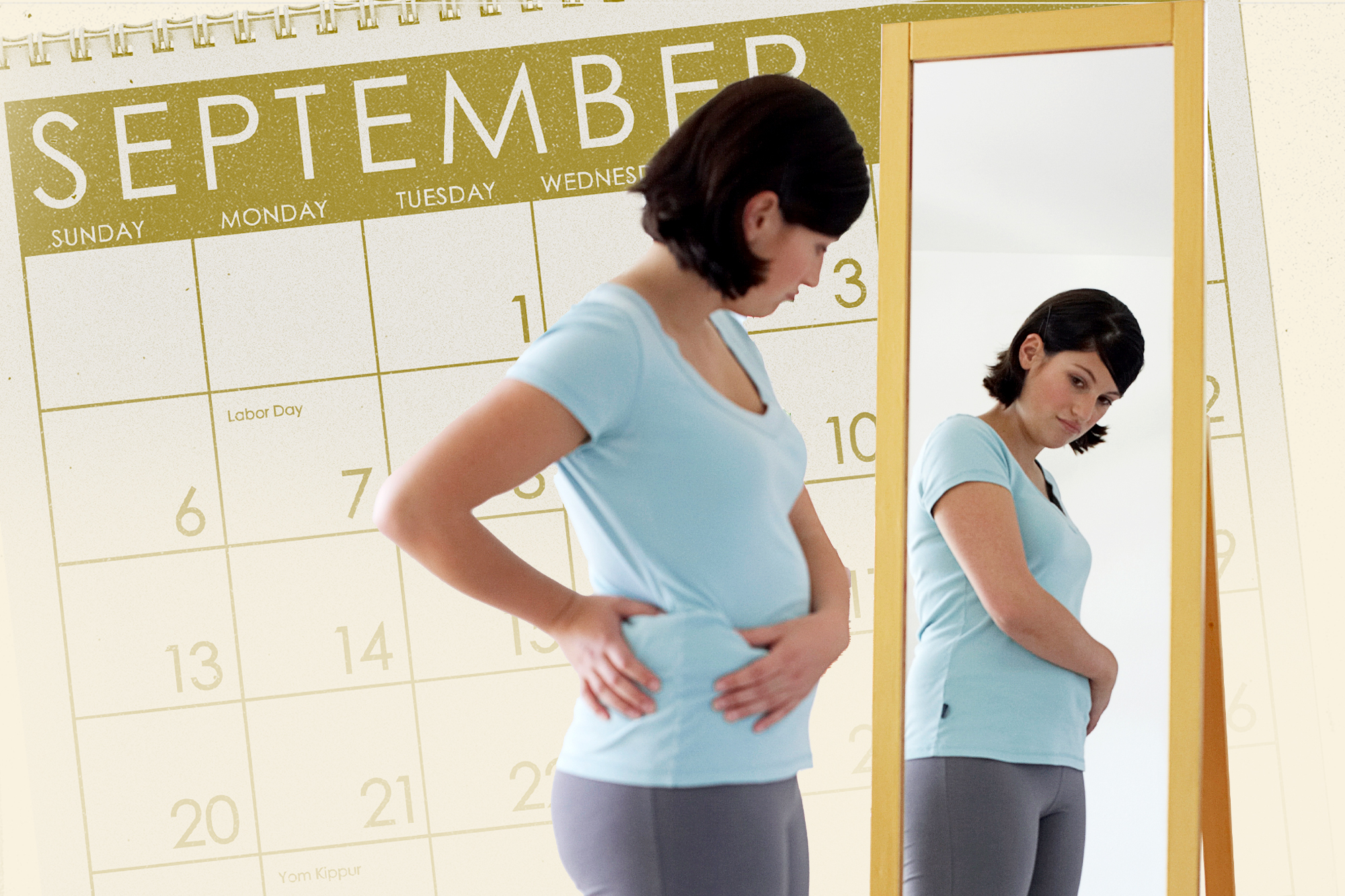 Woman looking at body in mirror with a September calendar in the background