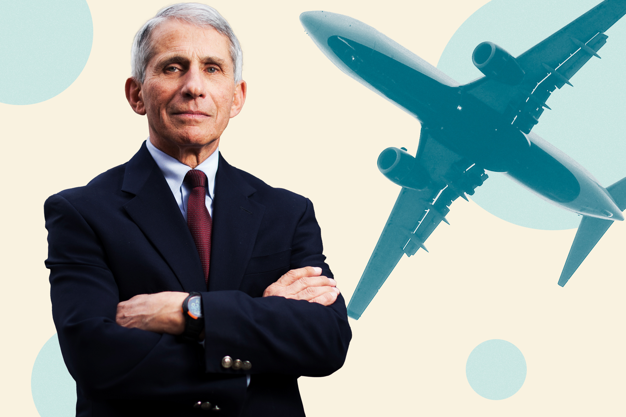 Dr. Fauci on a designed background with an airplane