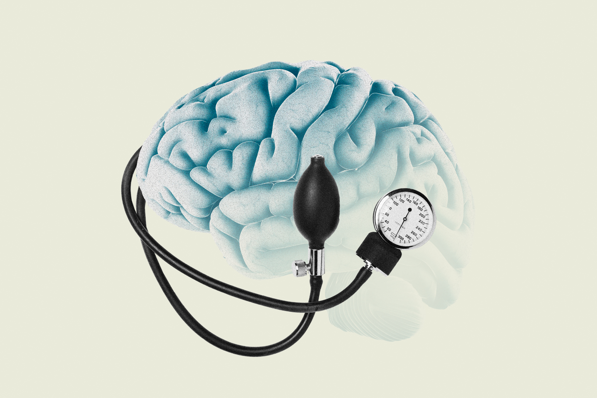 A fading brain with a blood pressure gauge coming out of it