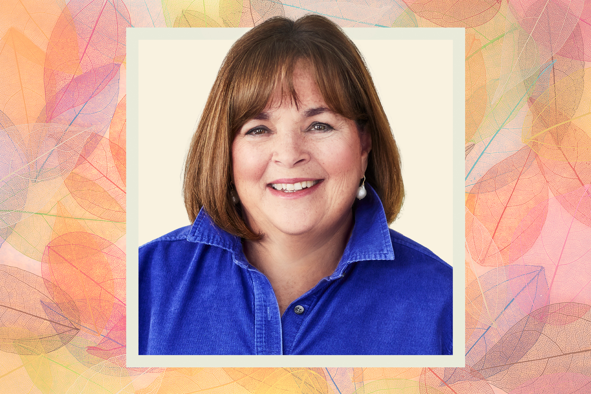 A portrait of Ina Garten on a fall themed background