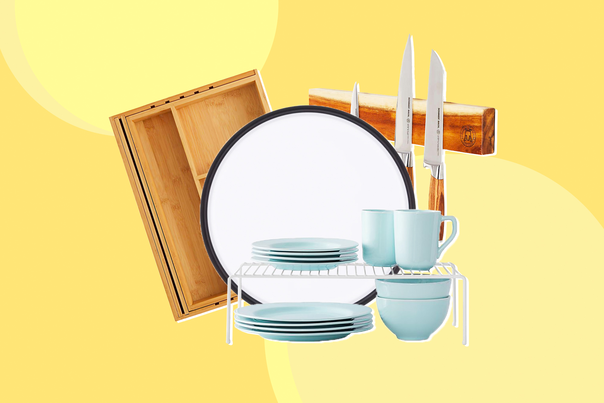 A collection of kitchen organizing products on a designed background