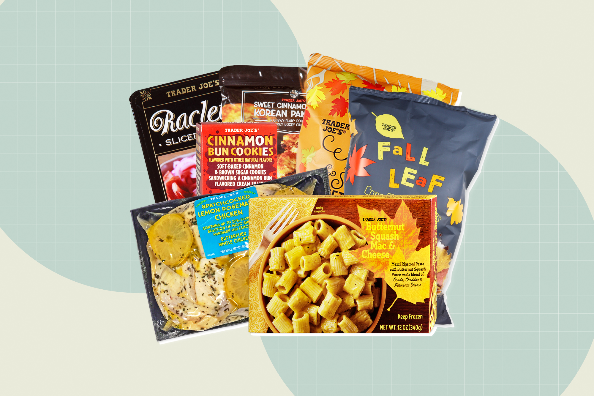 7 Trader Joe's products on a designed background