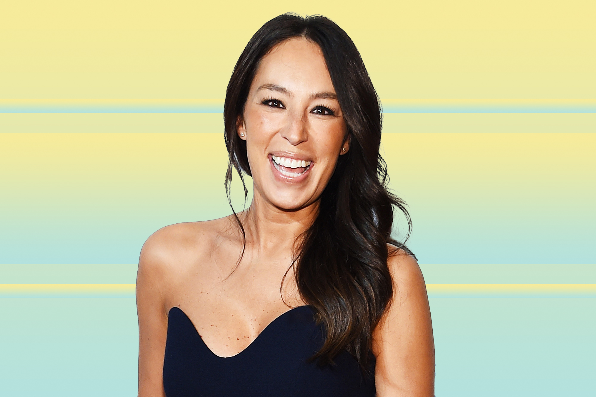 Joanna Gaines on a designed background