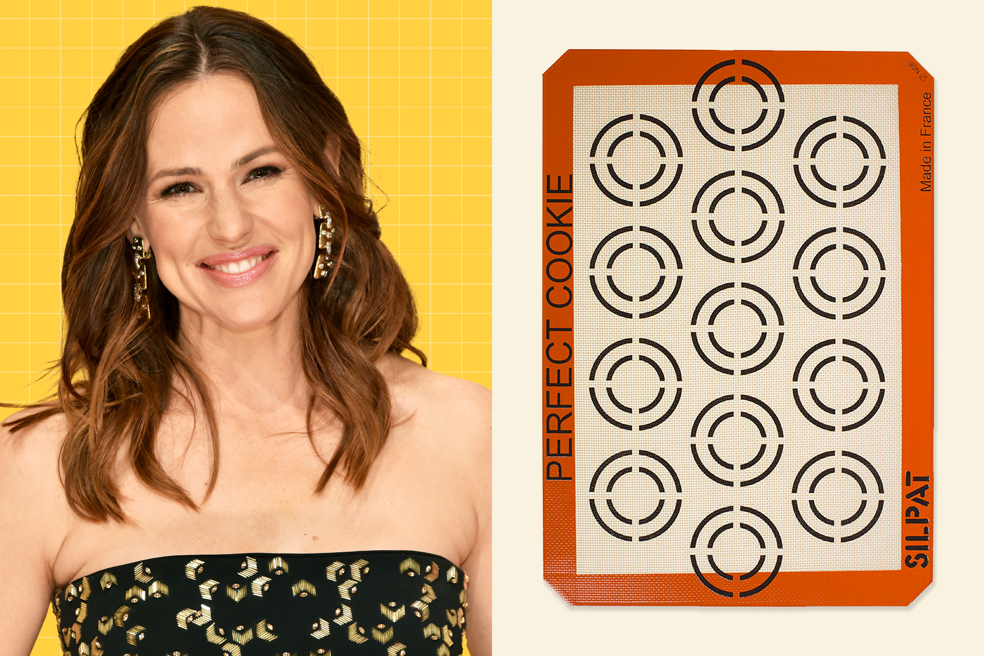 A protrait of Jennifer Garner next to Silpat Perfect Cookie Non-Stick Silicone Baking Mat