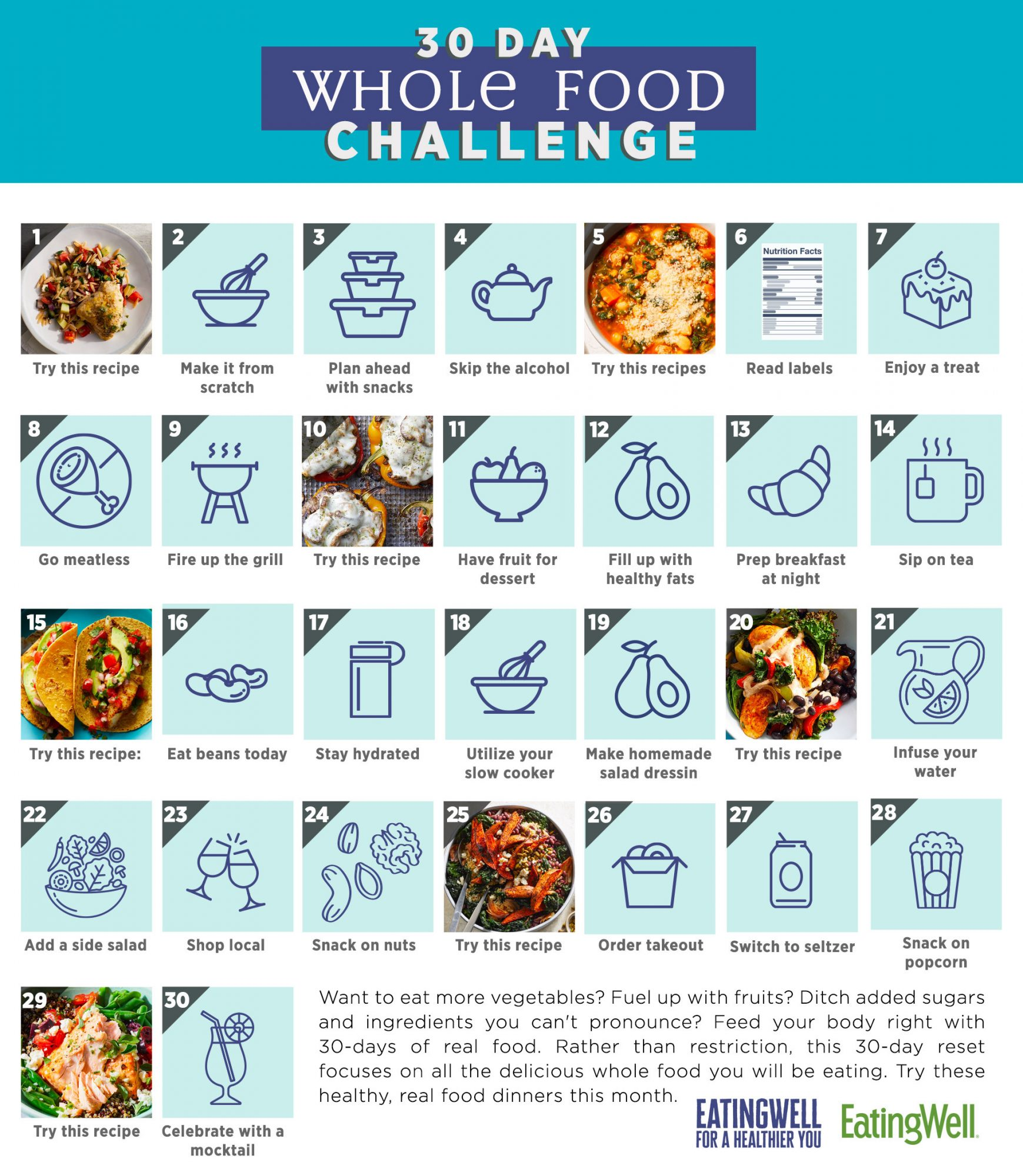 30 day whole food challenge calendar 2021