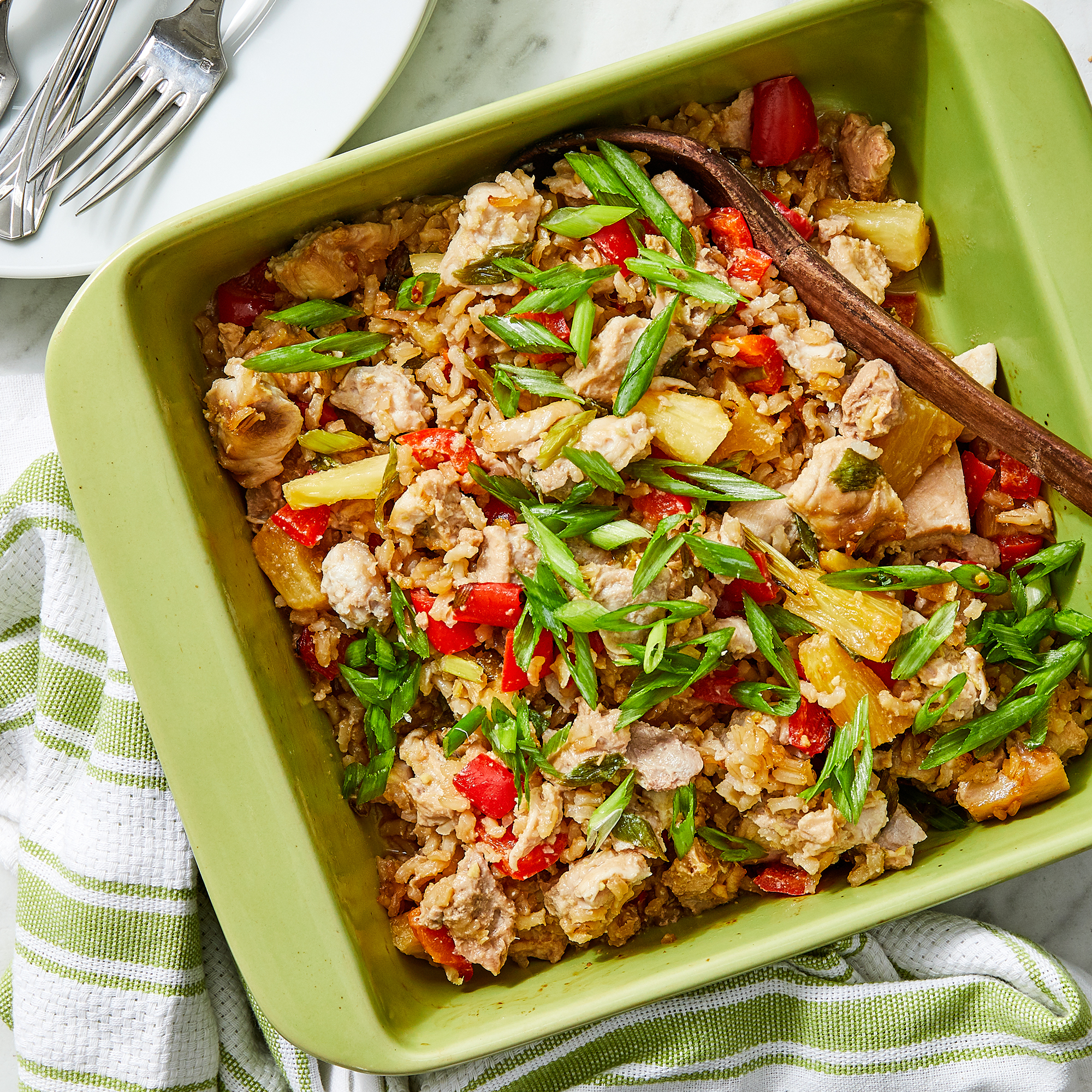 Chicken Casserole with Pineapple, Peppers & Rice