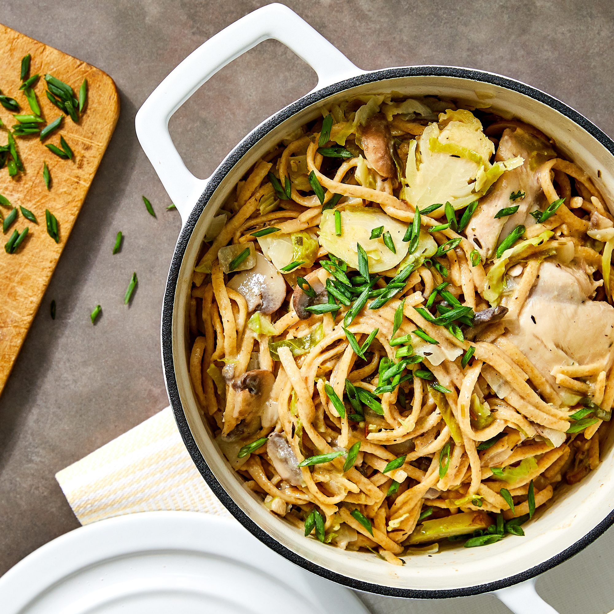 Creamy Chicken, Brussels Sprouts & Mushrooms One-Pot Pasta