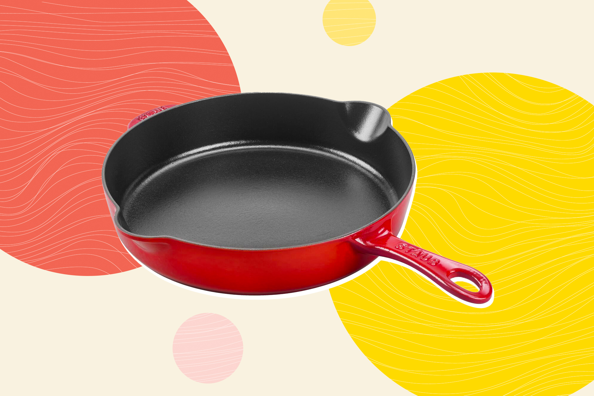 STAUB CAST IRON - FRY PANS/ SKILLETS 11-INCH, TRADITIONAL DEEP SKILLET, CHERRY
