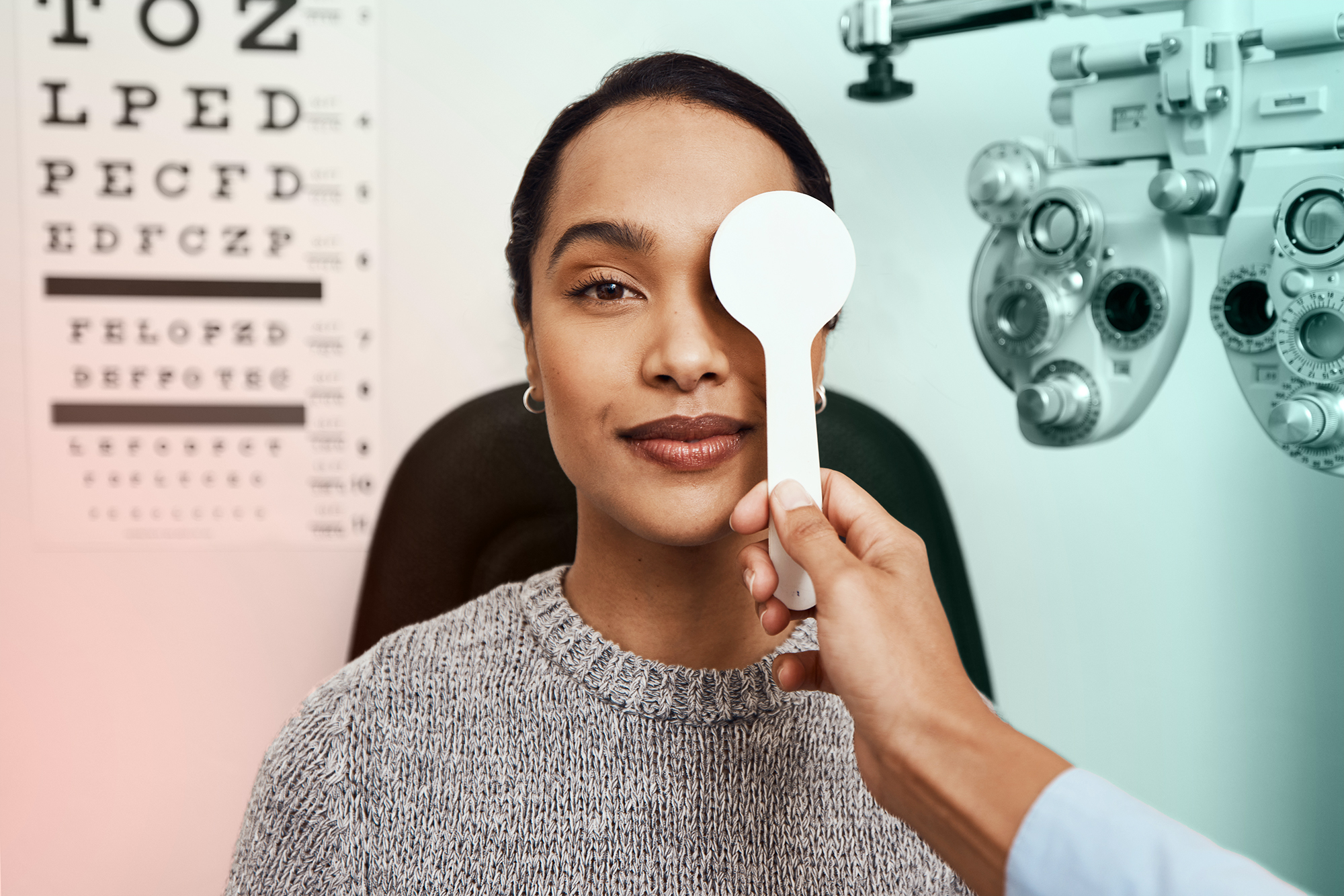 Portrait of a woman at an eye doctor appointment