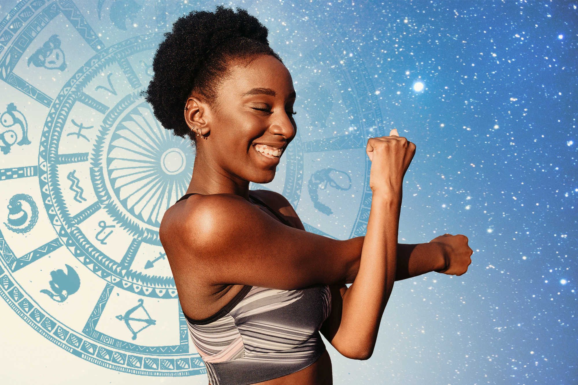 A woman stretching in workout gear on a background that includes an astrology chart and outer-space