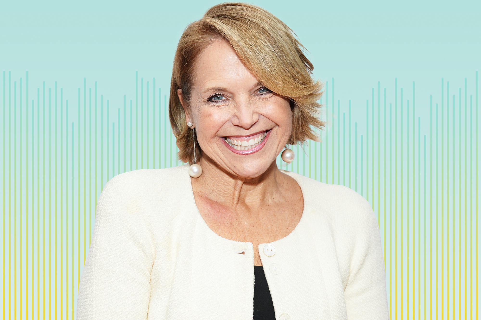 Katie Couric on a designed background