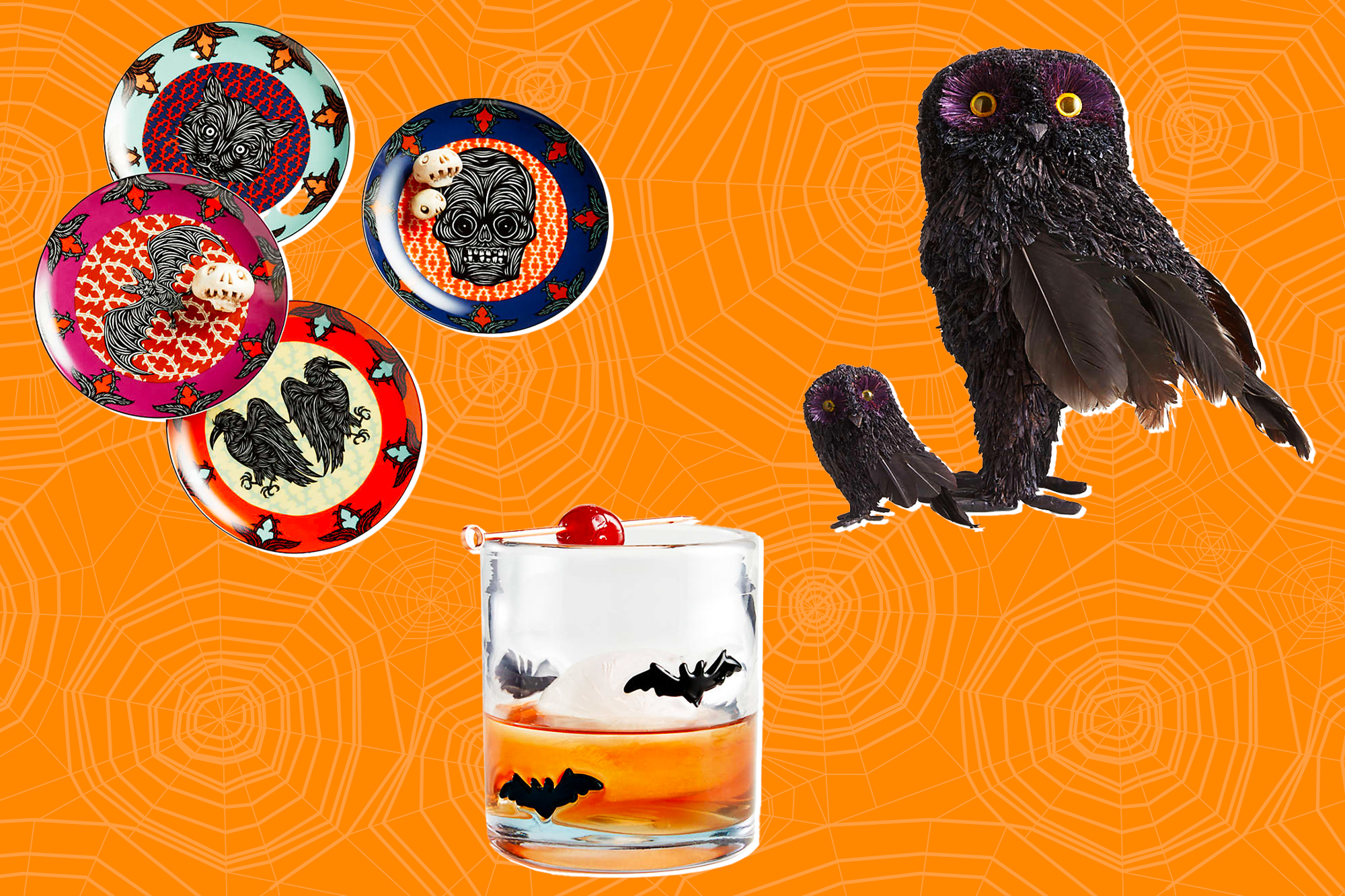 Halloween goods from Crate and Barrel on a spiderweb background.
