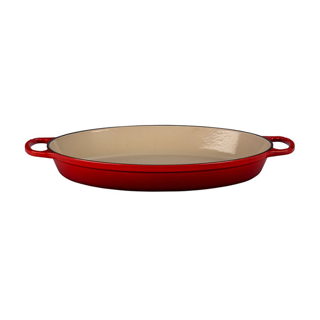 red oval baking dish