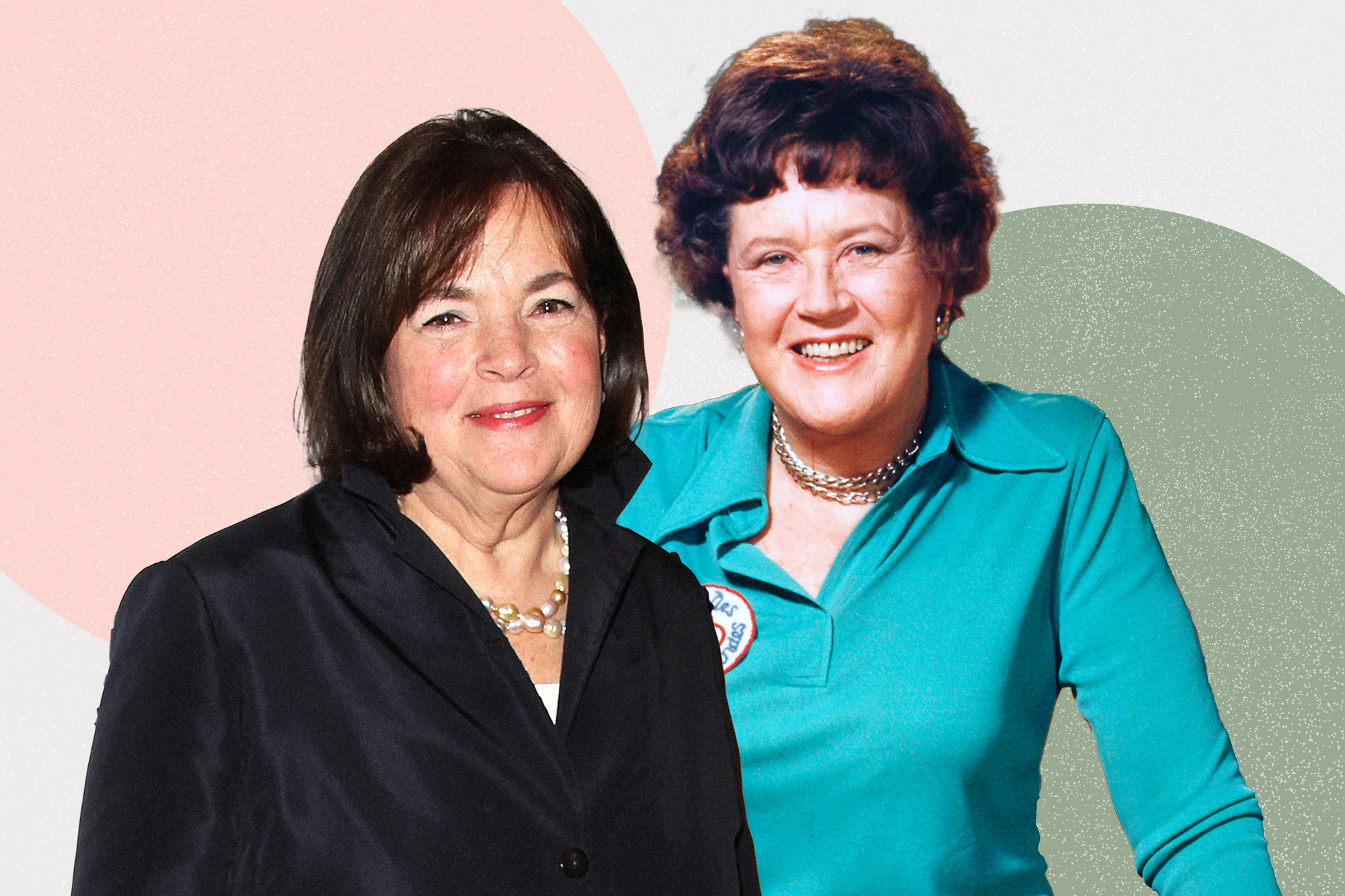 Ina Garten and Julia Child on a designed background
