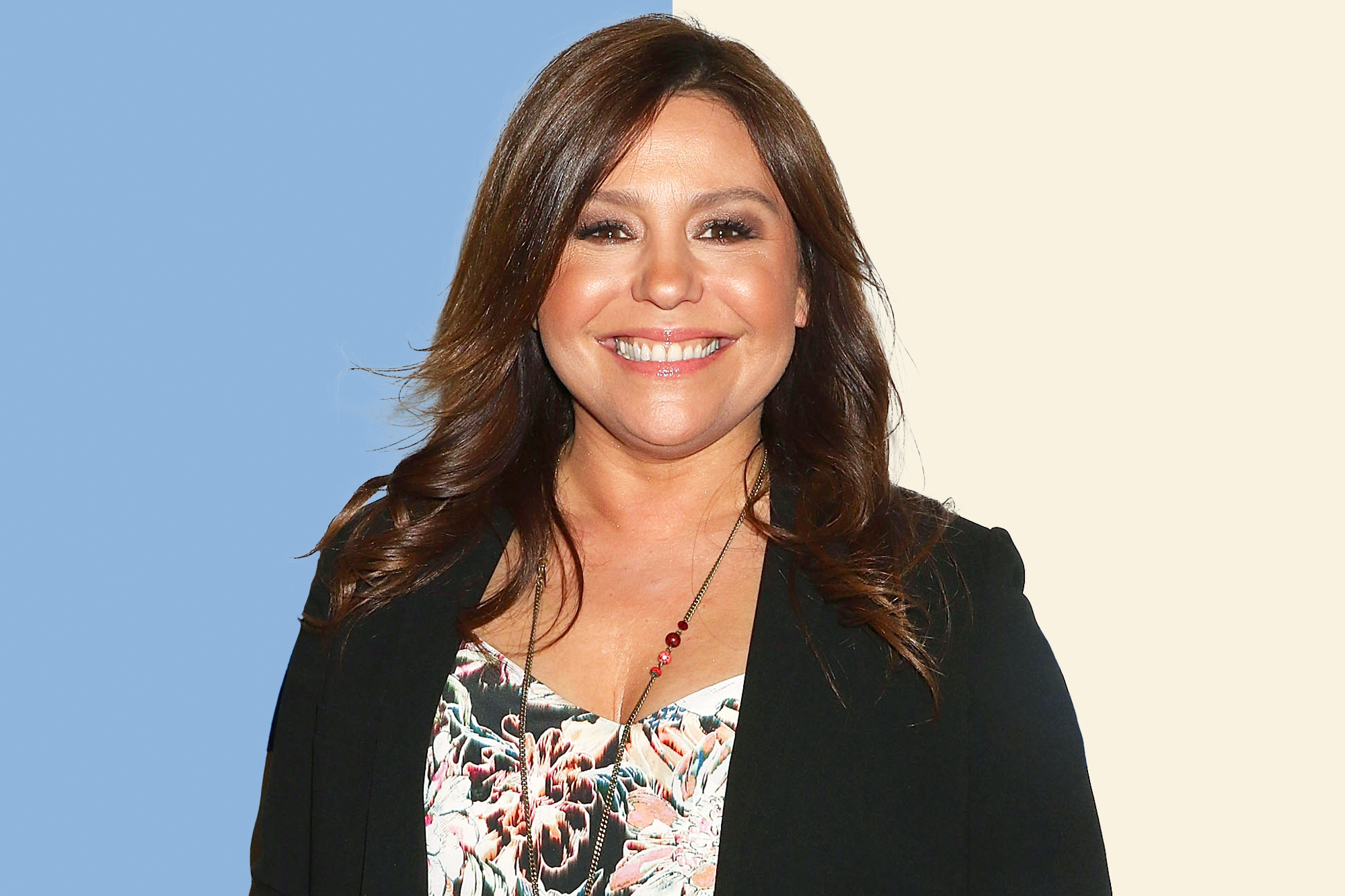 Rachel Ray on a designed background