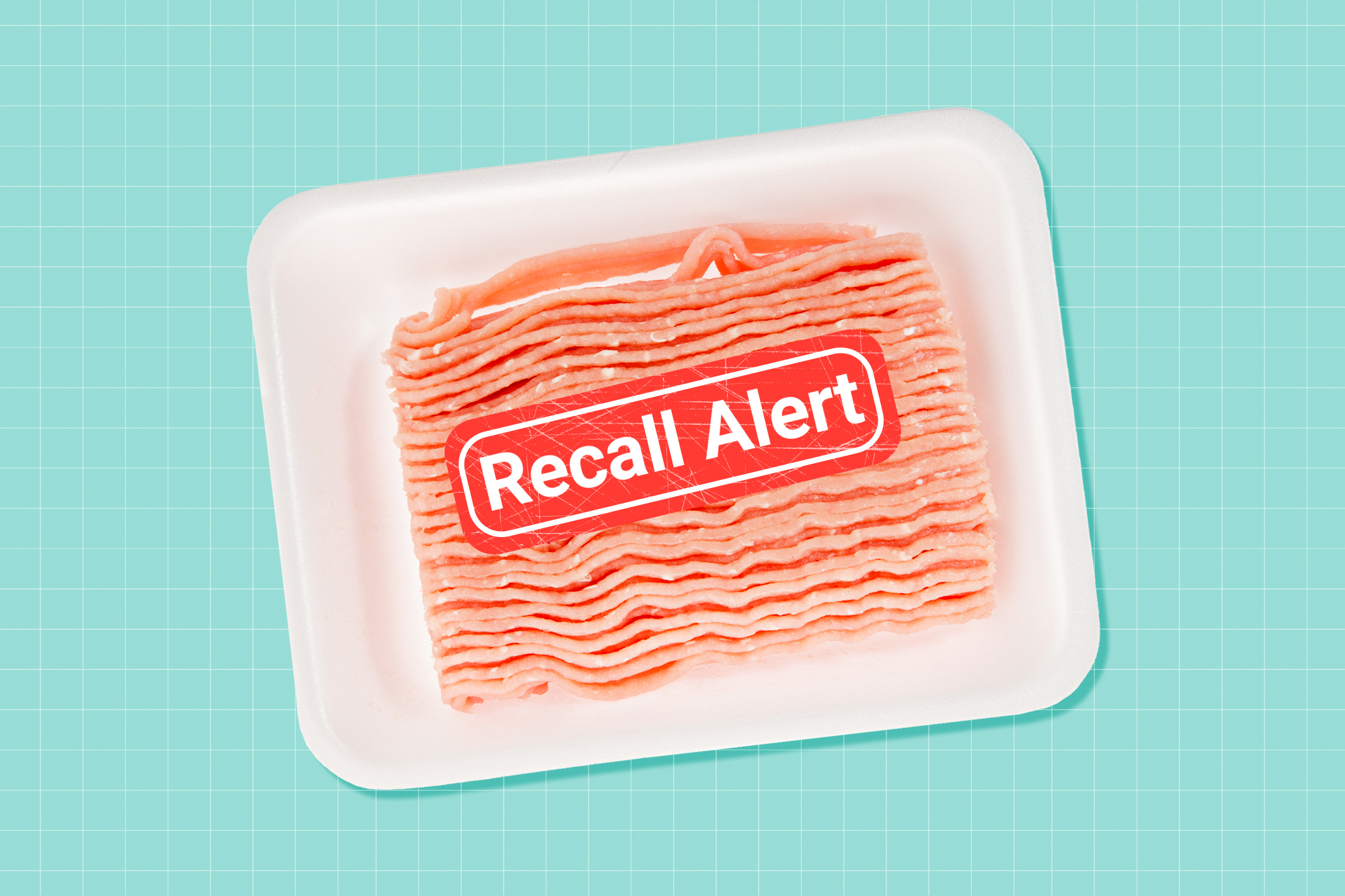 Ground turkey with a recall button on top of it