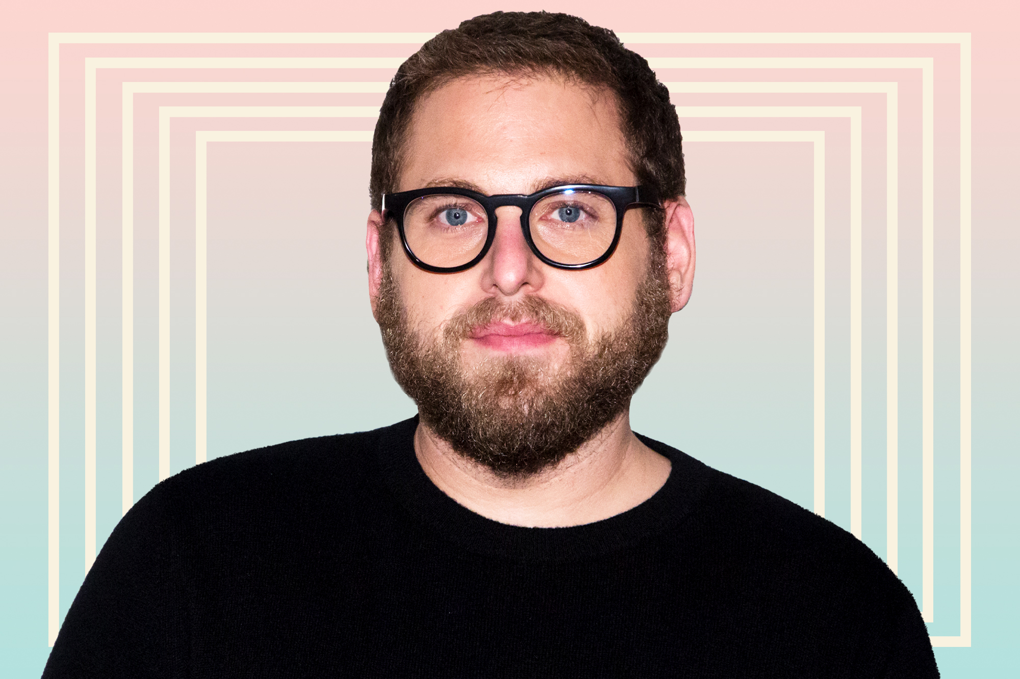 Jonah Hill on a designed background