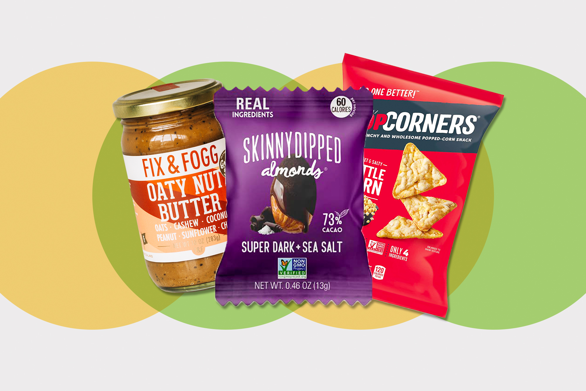 SkinnyDipped Snack Attack Minis Almond, Popcorners Snack Pack, Gluten Free, Vegan Snack Kettle Corn, and Seapoint Farms Sea Salt Dry Roasted Edamame on a designed background