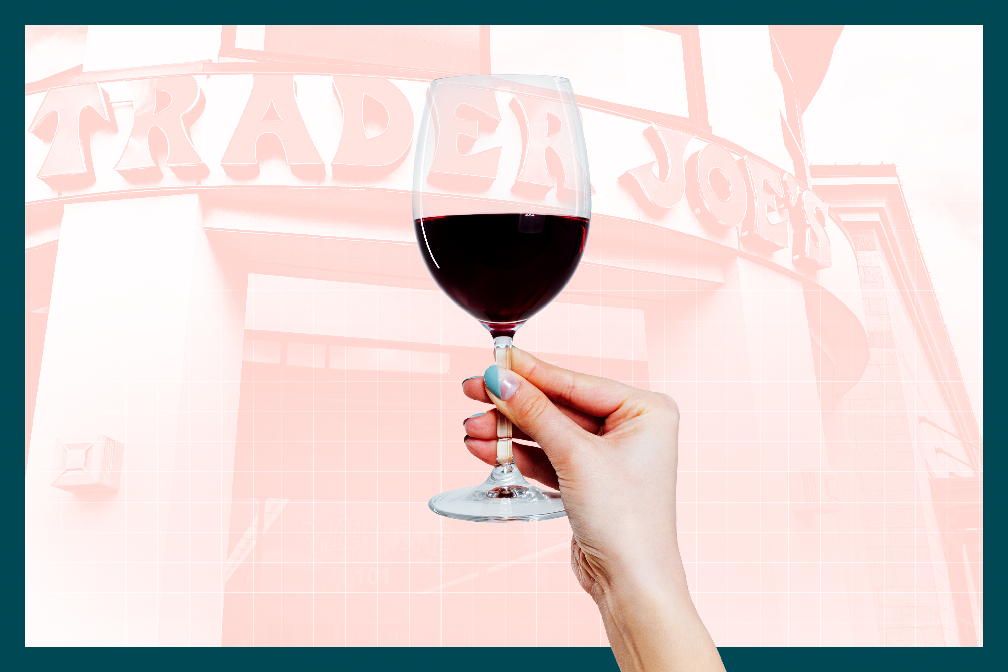 A woman holding a glass of wine in front of a Trader Joe's storefront