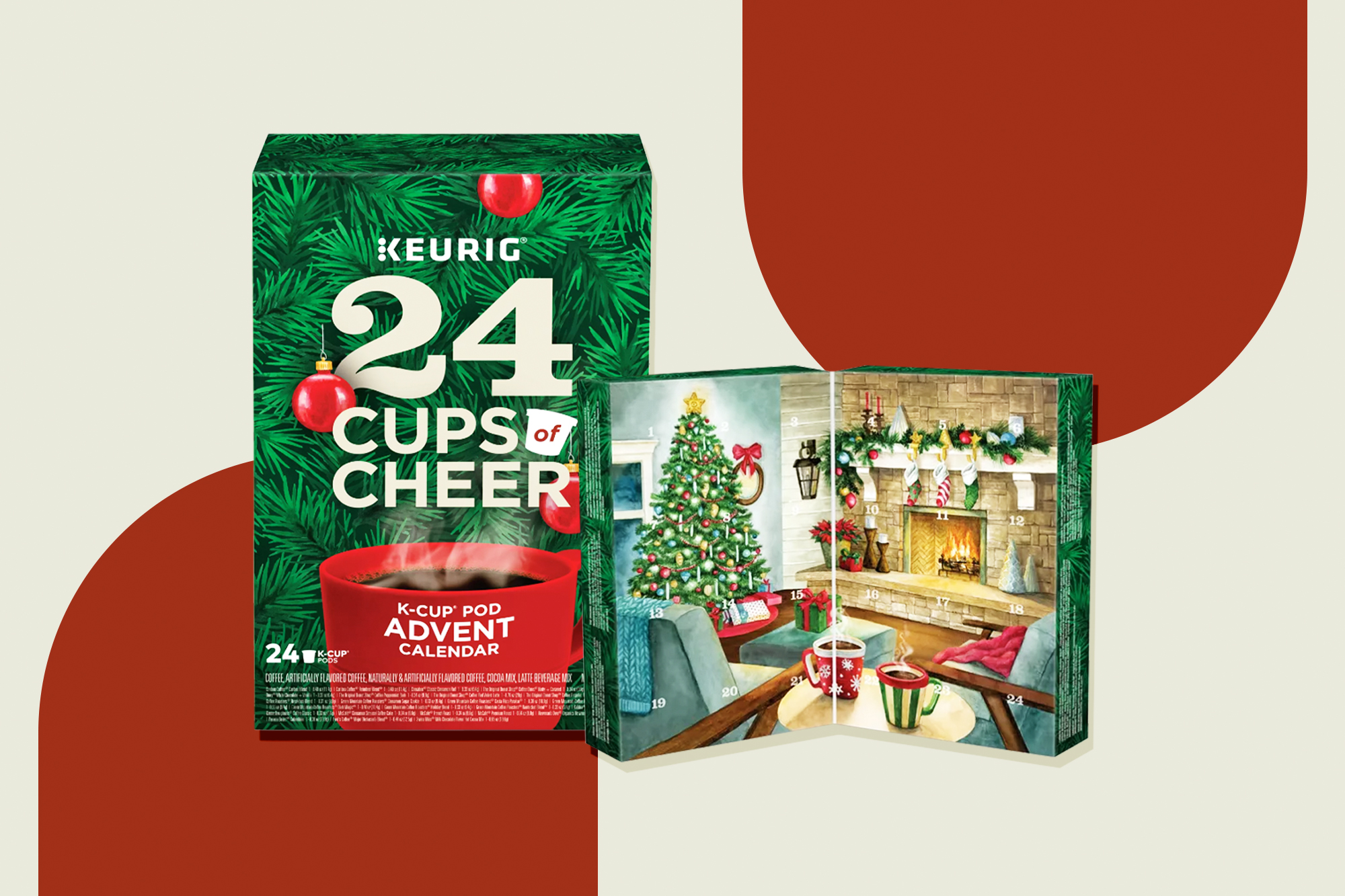 Keurig® Cups of Cheer Advent Calendar K-Cup® Pods 24-Count on a designed background