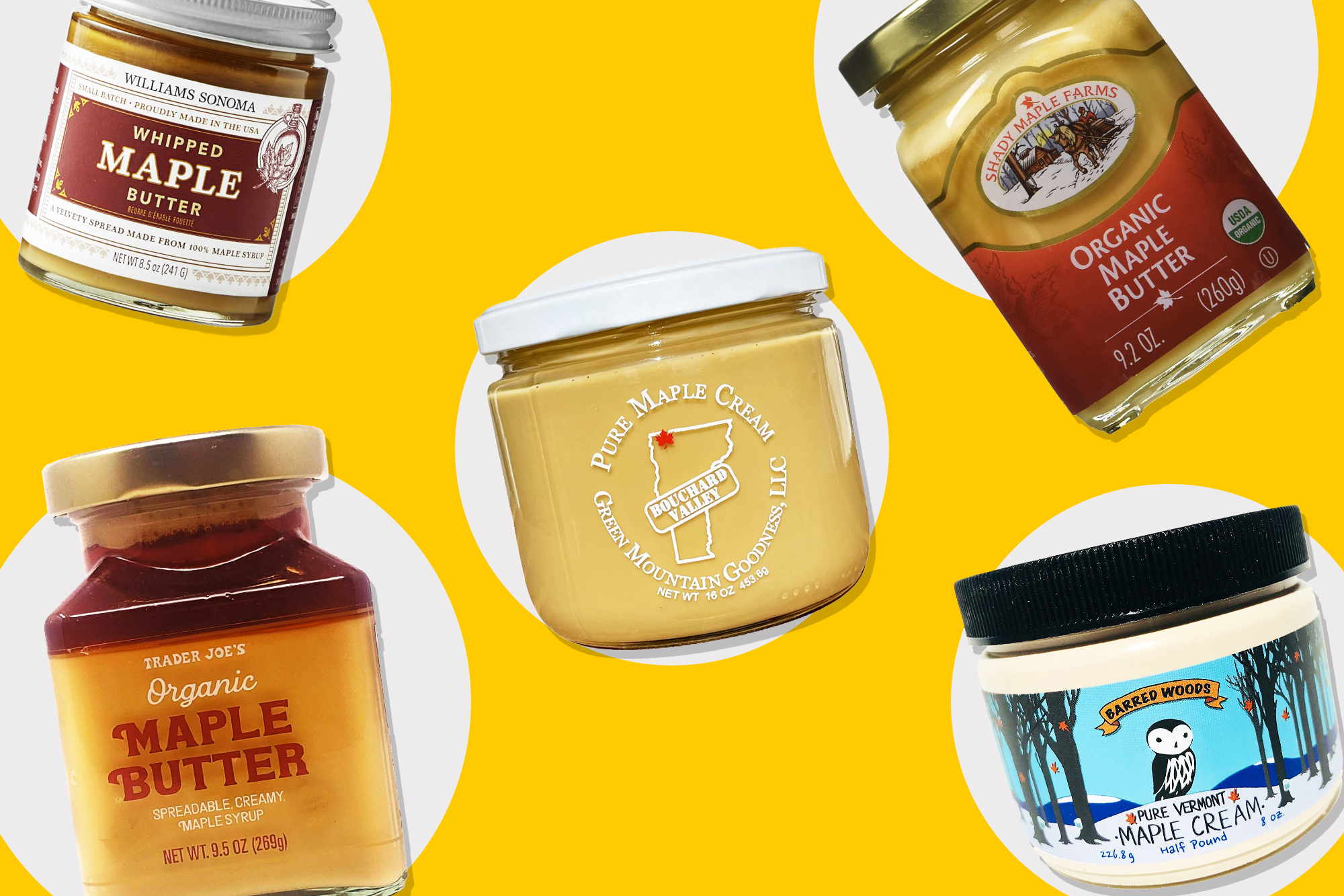 5 different types of Maple butters on a yellow and grey designed background