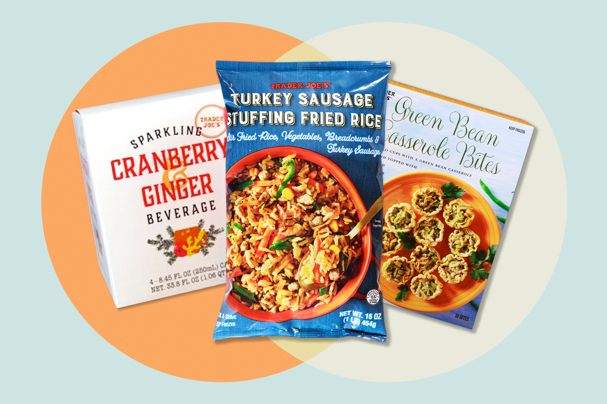 3 Trader Joe's Thanks Giving Themed products on a designed background