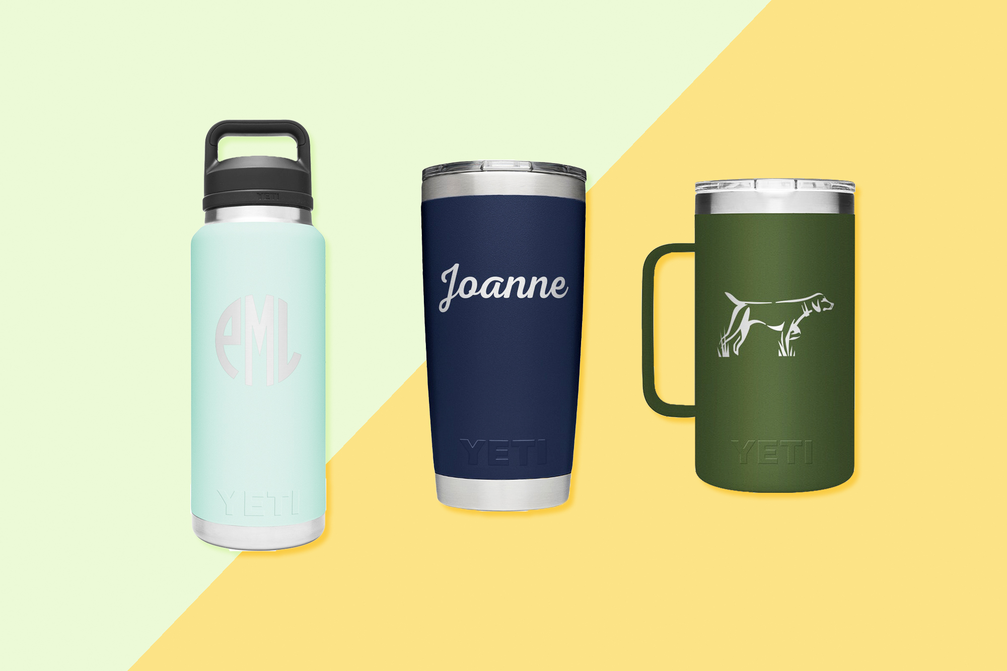 3 different Yeti insulated cups and bottles with monograms on a designed background