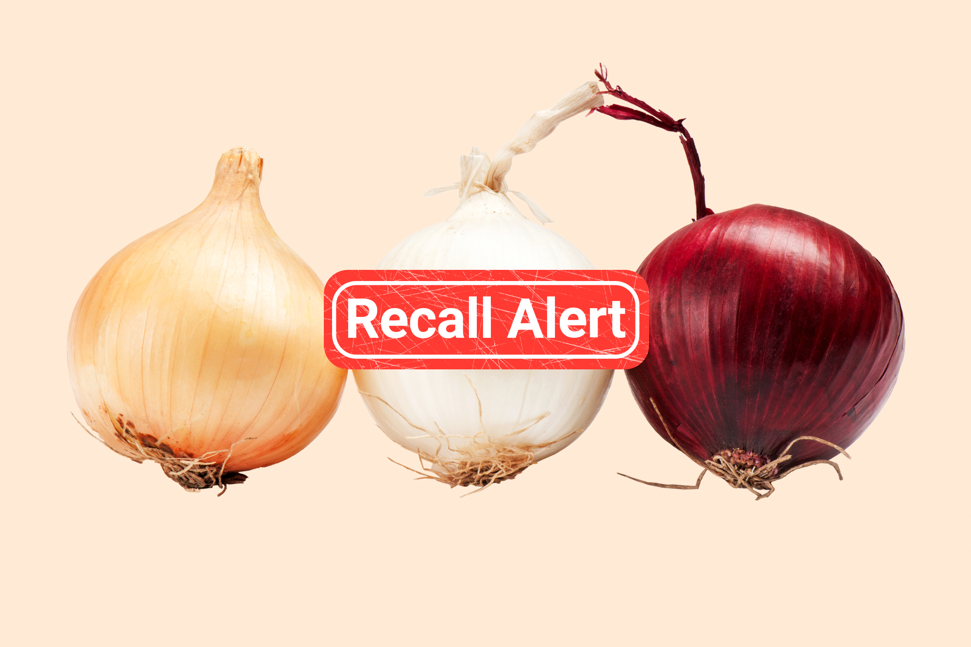 3 types of onions on a designed background with a recall alert button on top.