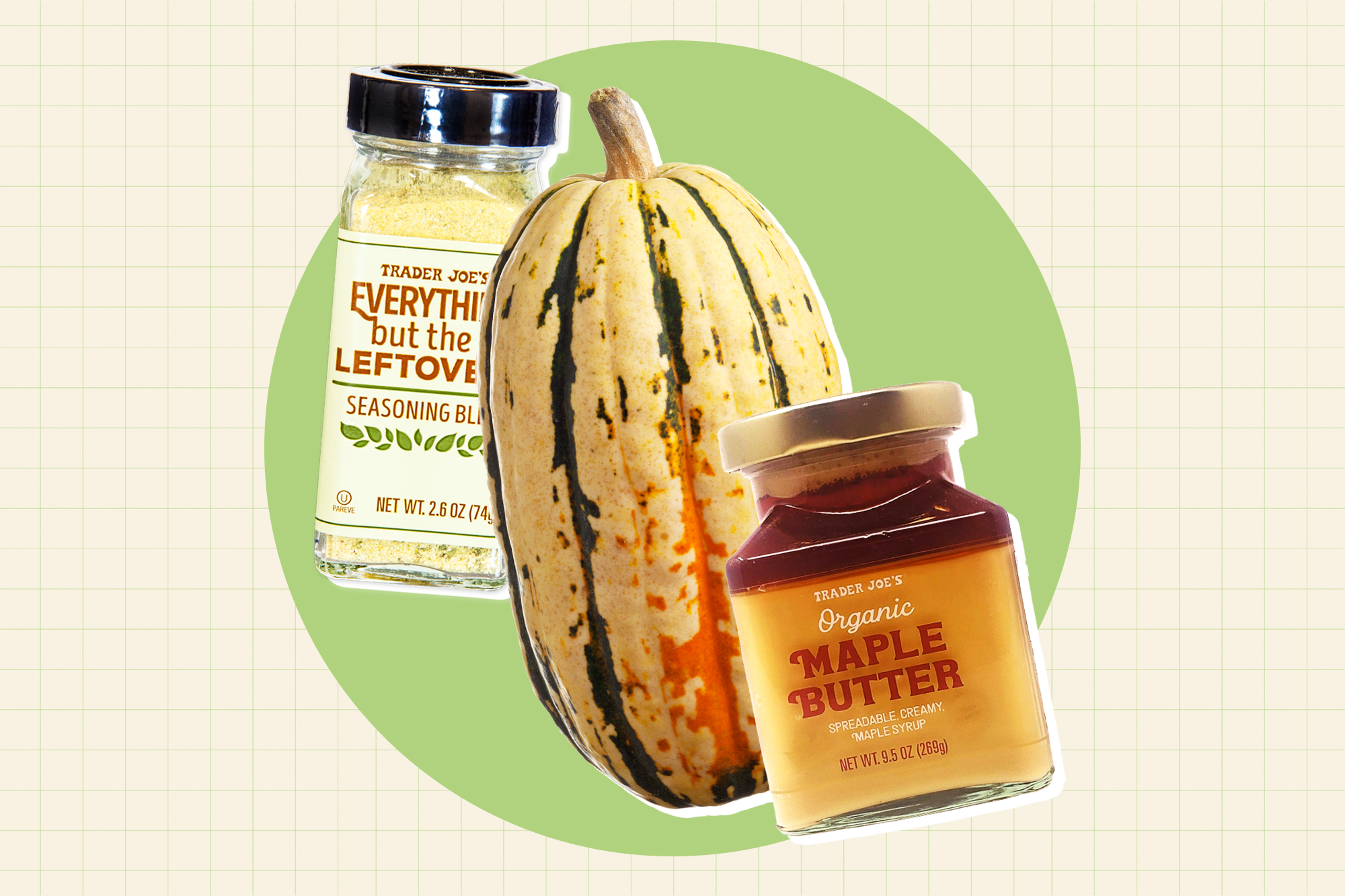 a Delicata squash Trader Joe's Maple Butter and Everything but the Leftovers on a designed background